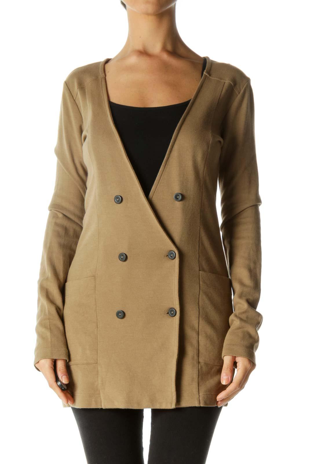 Beige Deep V-Neck Pocketed Buttoned Soft Jacket Front