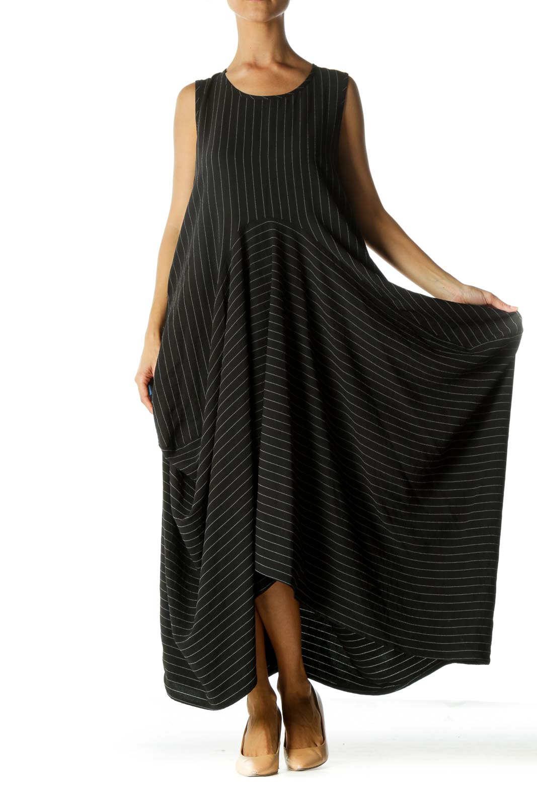 Black Striped Asymmetric Dress Front
