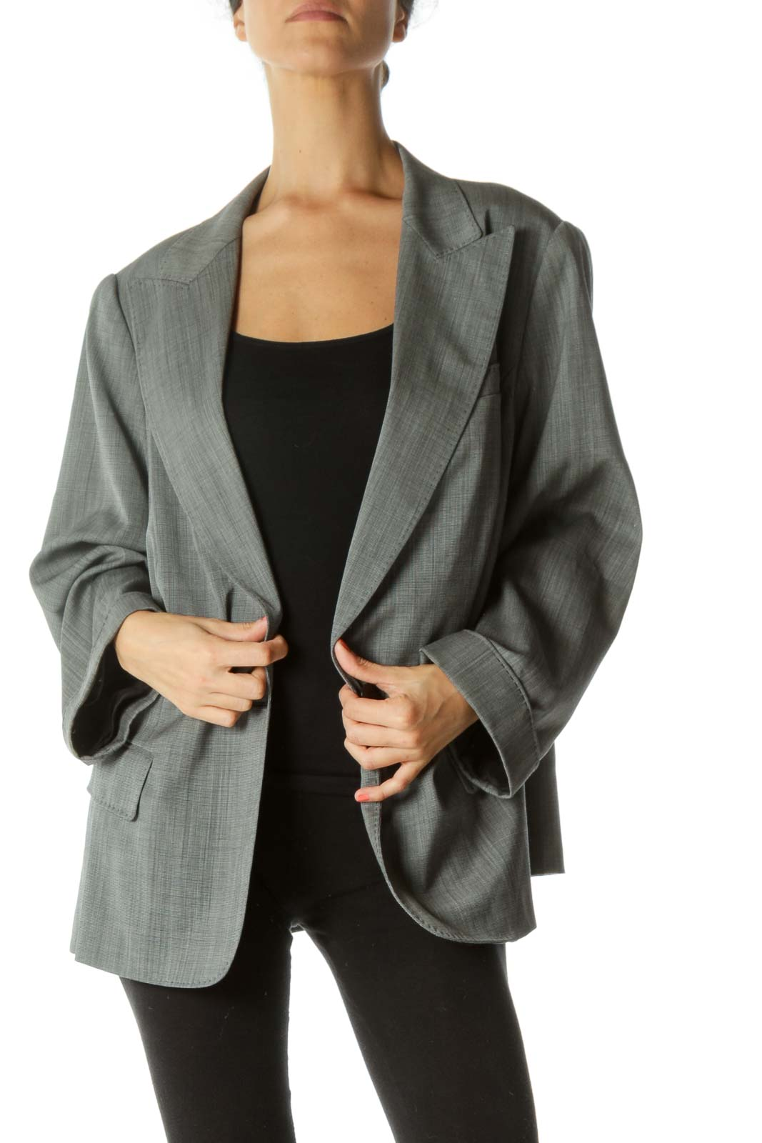 Black White Wool Blend Stitching-Detail Faux-Pockets Padded Shoulders Blazer Front