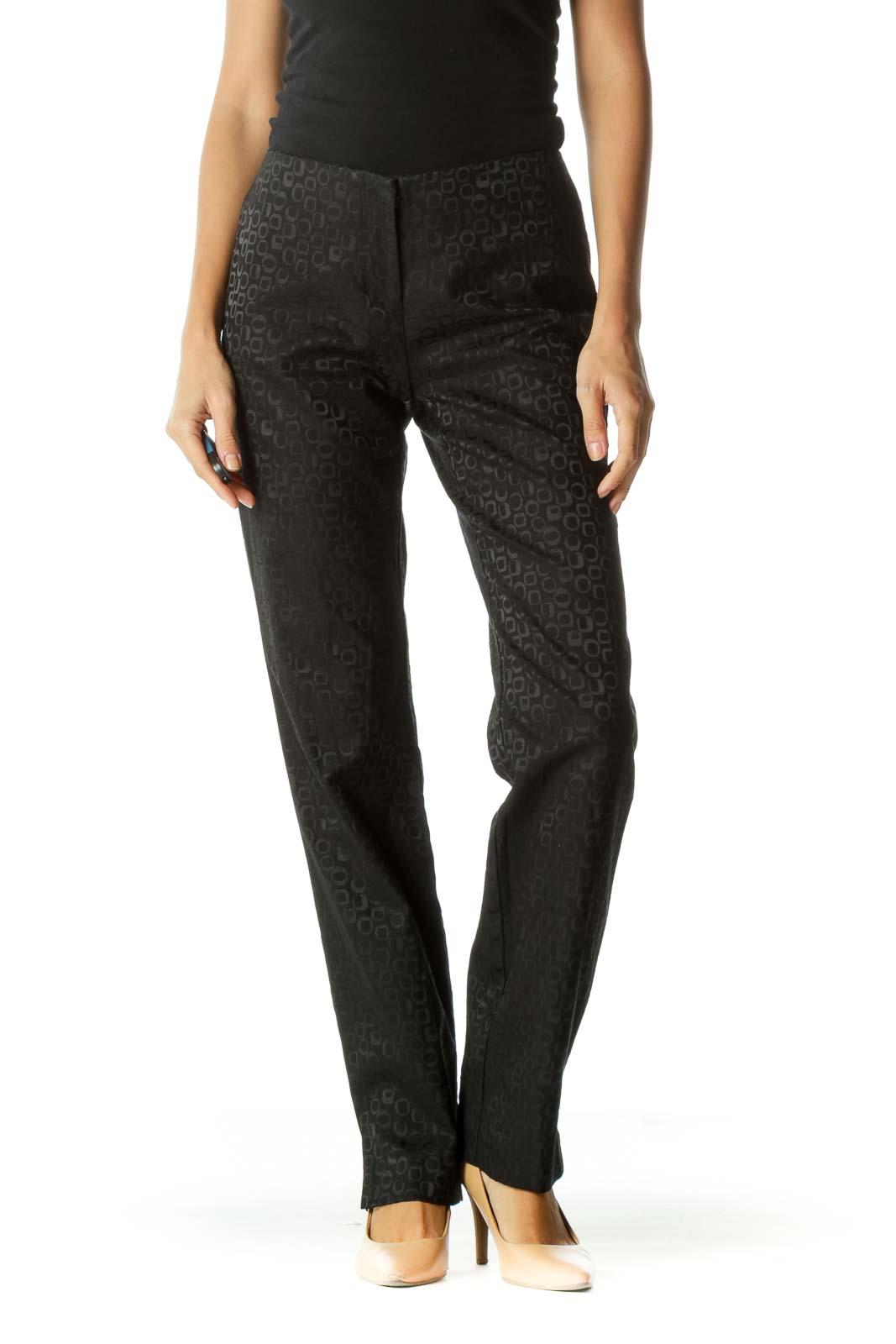 Black Jacquard Textured Print Pants Front