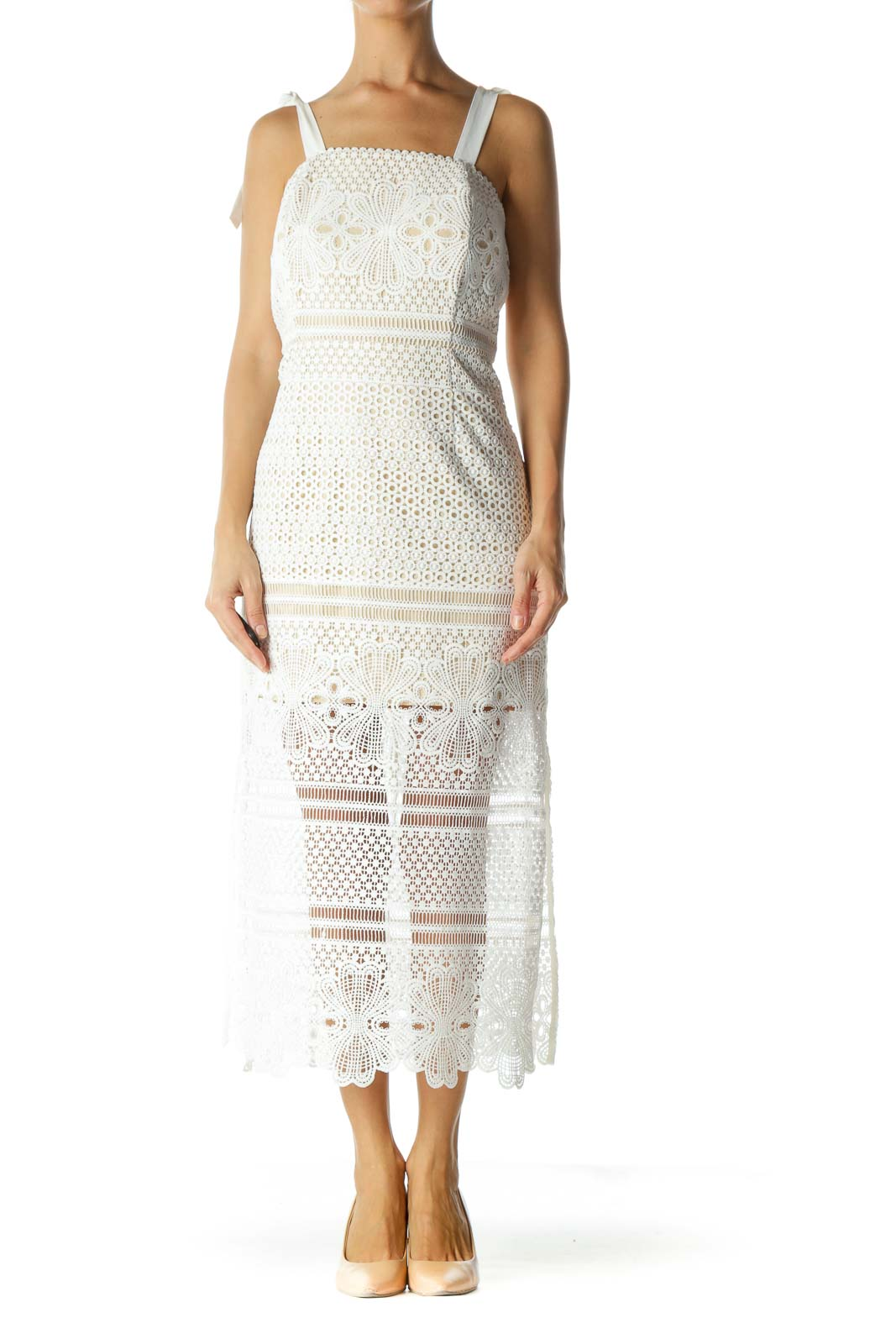 White Crocheted Tie Straps Dress Front