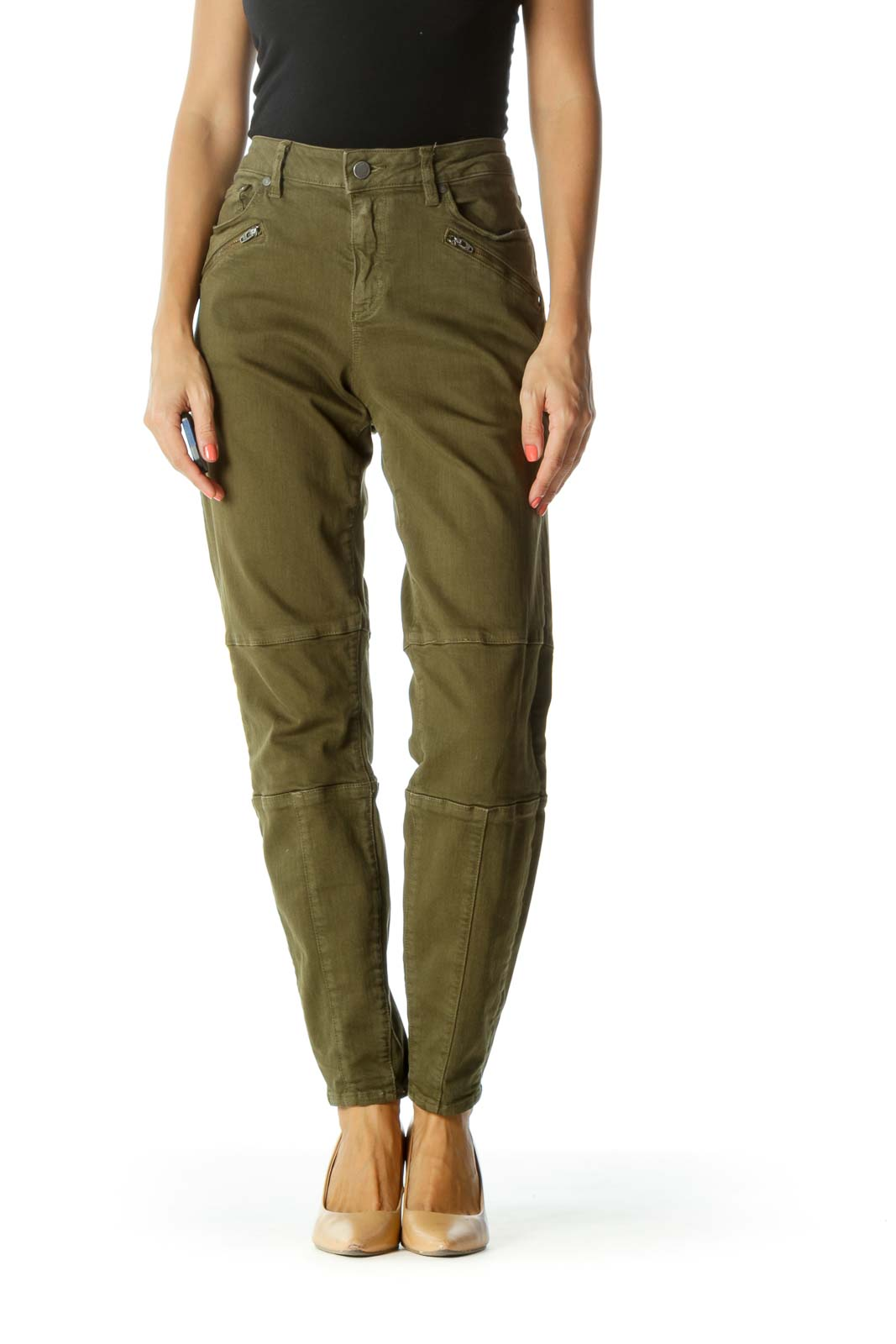 Olive Green Zipper-Details Stretch Tapered Pants Front