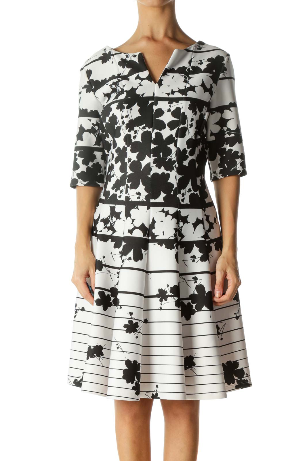 Black and White Floral Print Work Dress Front