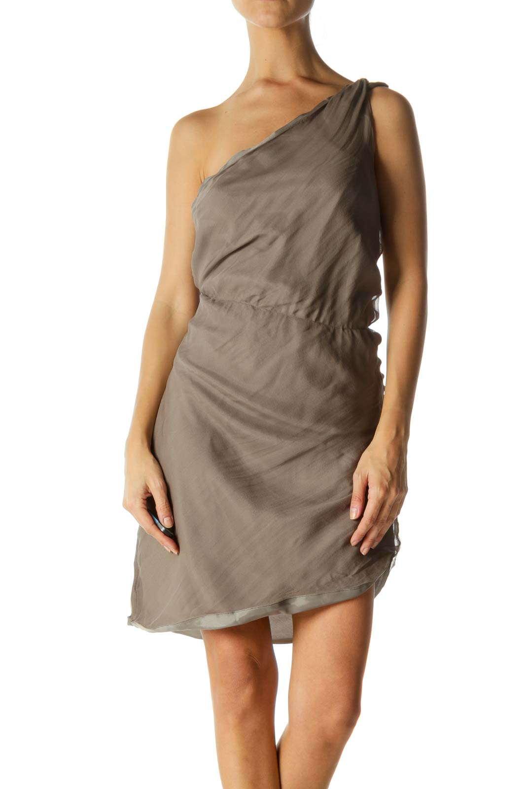 Gray Silk Blend One-Blend Elastic-Cinched Waist Dress Front