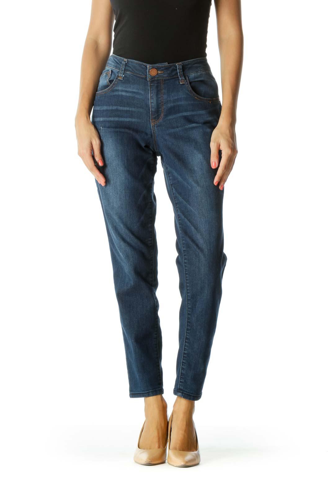 Blue Medium-Wash Distressed-Details Stretch Jeans Front
