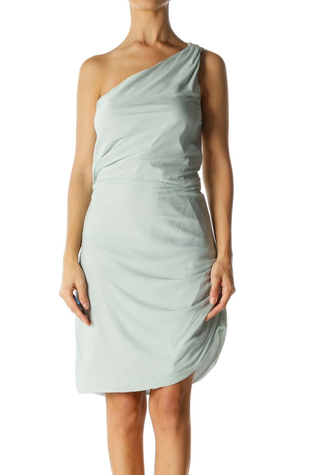 Light Mint Blue One-Shoulder Elastic-Cinched Waist Dress Front