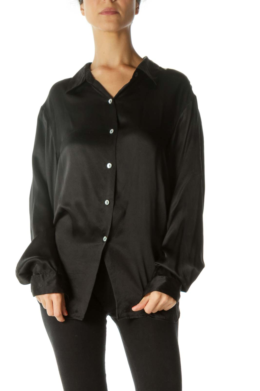 Black 100% Silk Buttoned Loose Soft-Touch Shirt Front