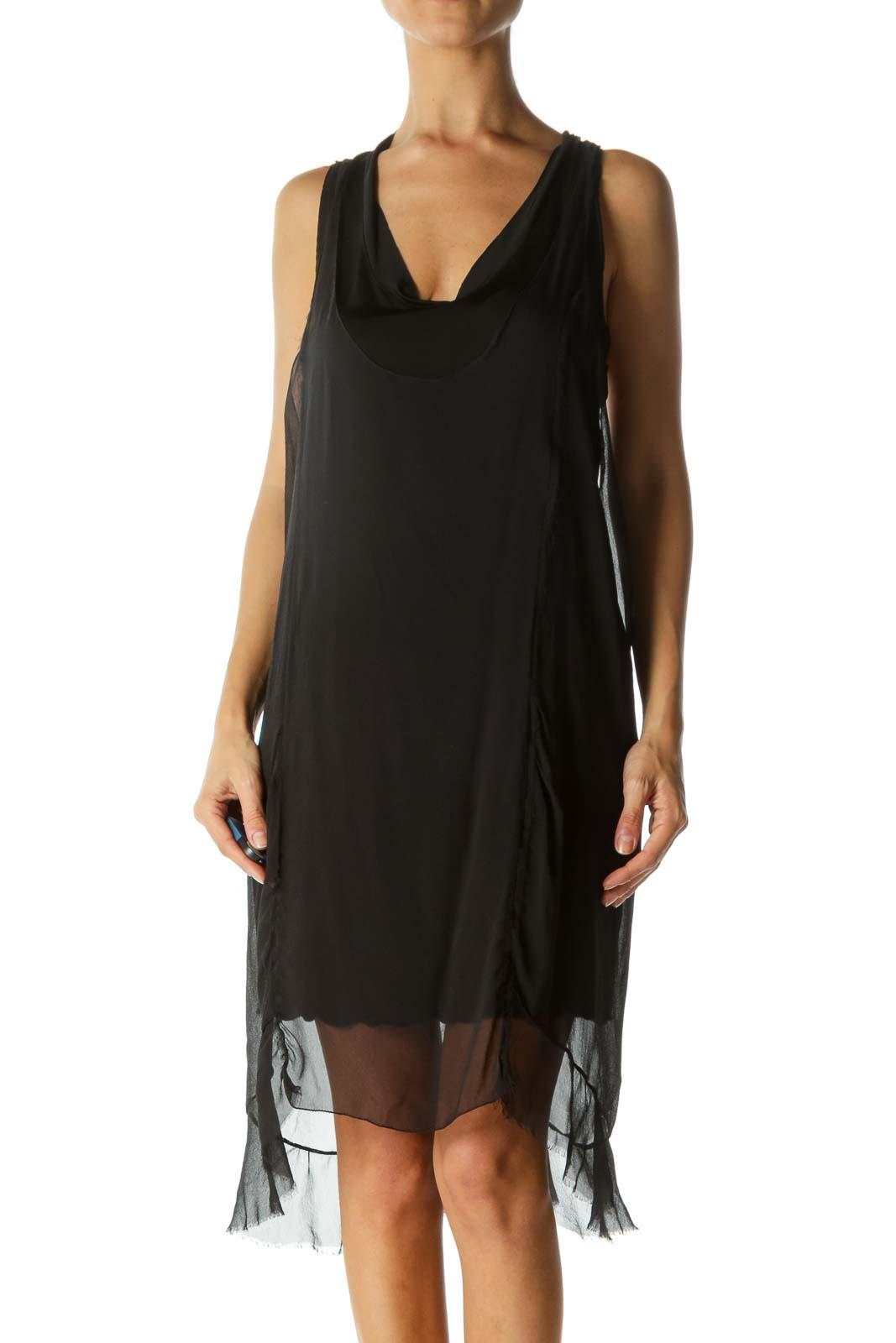 Black Silk Blend Round Neck Stretch Lining Dress Front