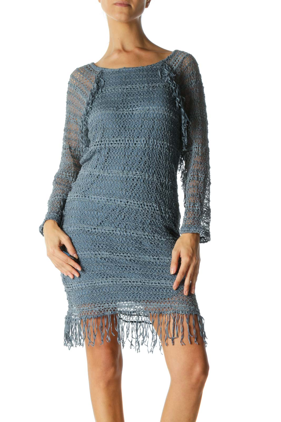 Blue Round Neck Stretch Knit Fringe Detail Dress Front