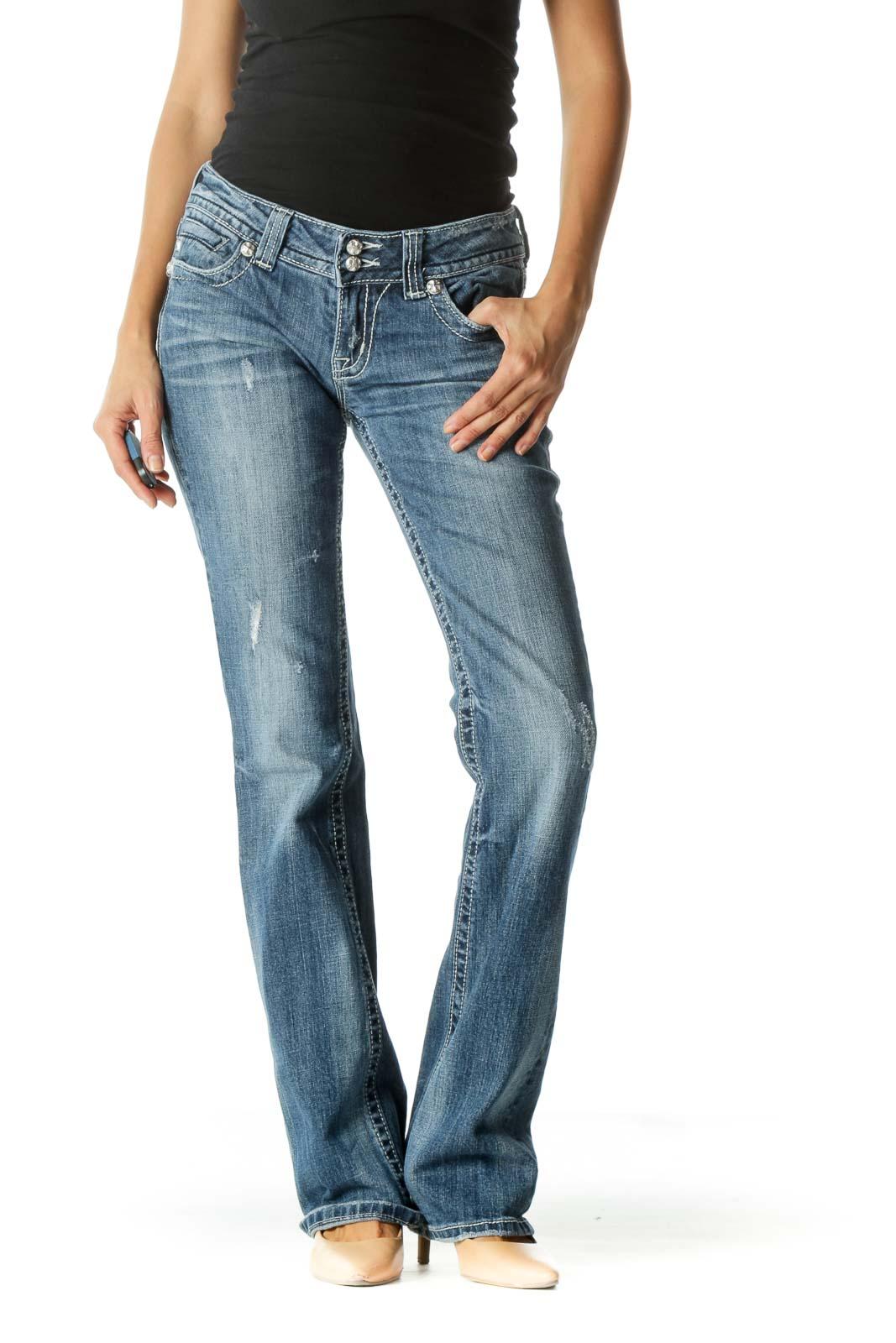 Blue Medium Wash Low Rise Jeans Front