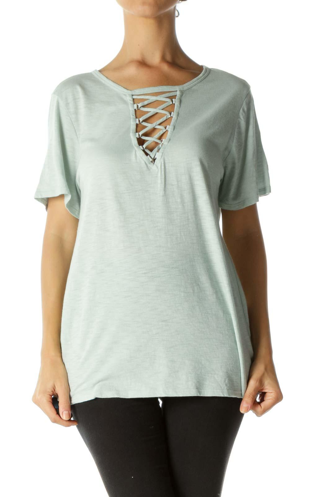 Light Mint Green Cotton Blend Crisscross Stretch T-Shirt Front