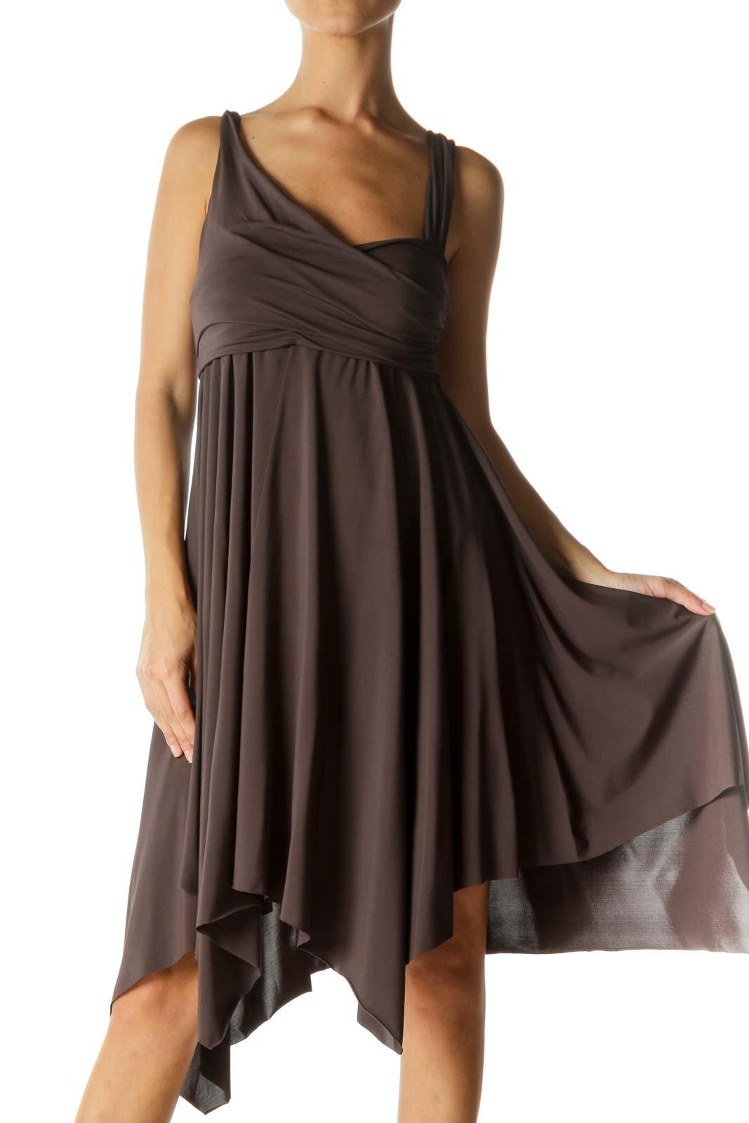 Gray Scrunch Detail Waterfall Stretch Dress Front