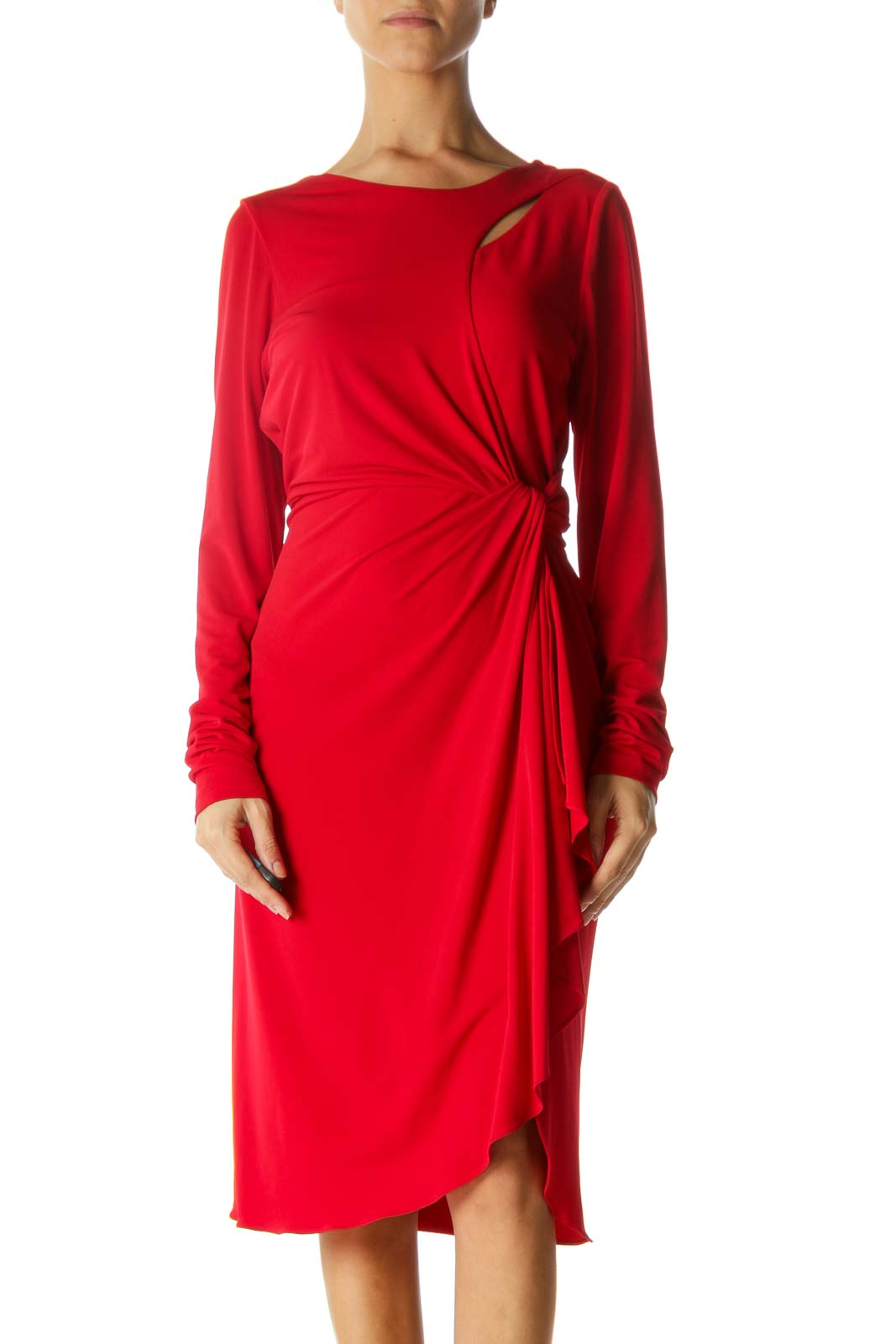 Red Round Neck Cut-Out Upper and Knot Detail Dress Front