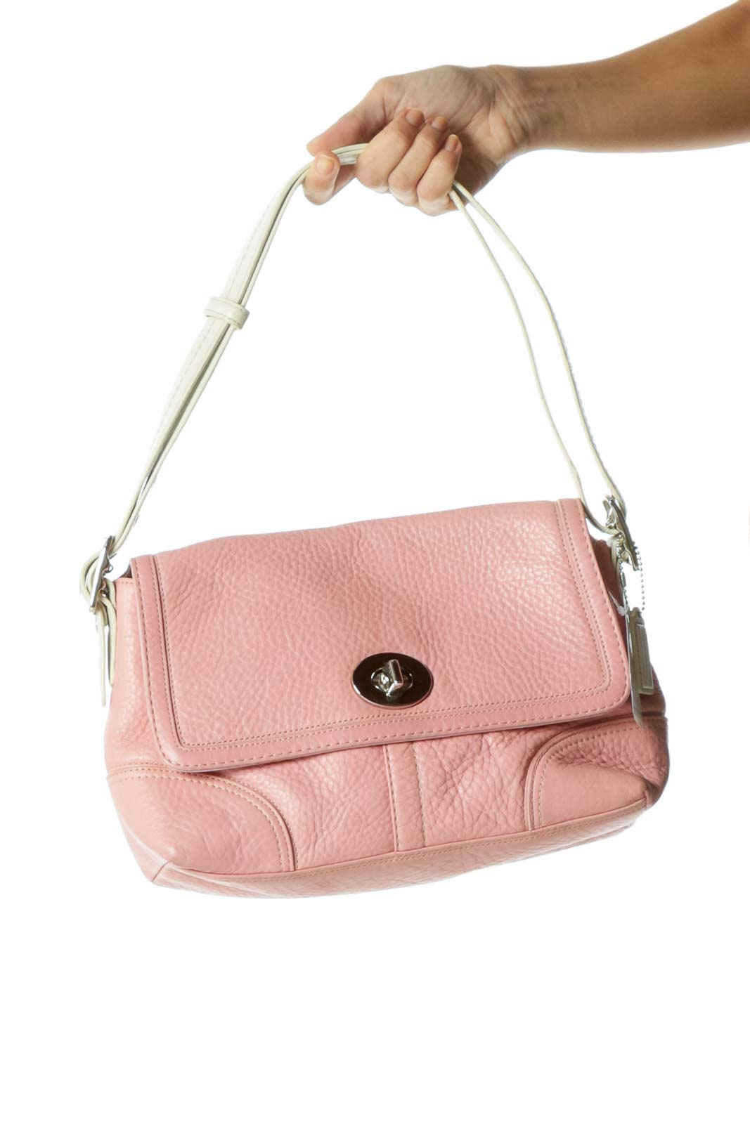 Pink Leather Color Block Shoulder Bag Front