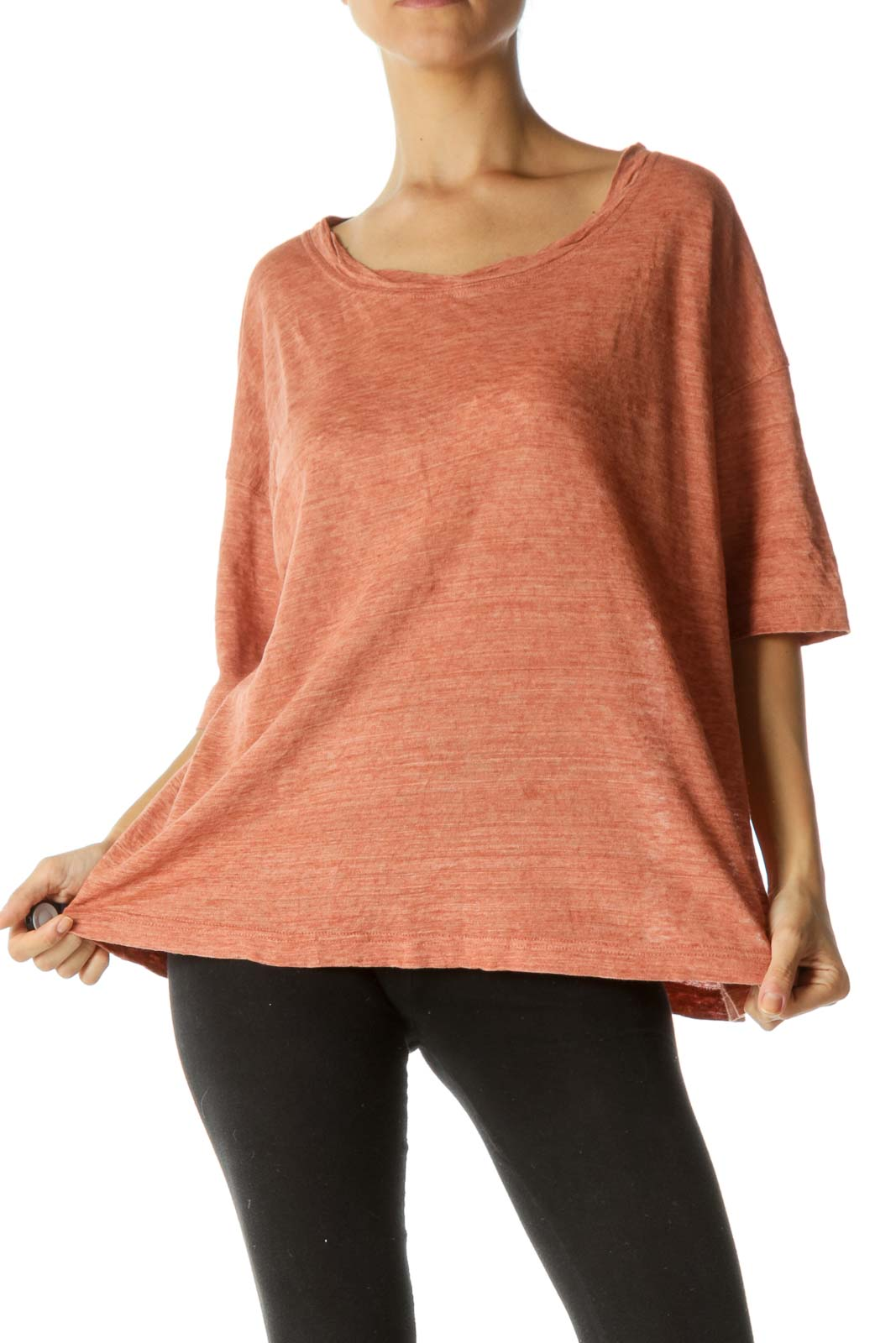 Orange 100% Linen Round Neck Sleeves-Detailing T-Shirt Front