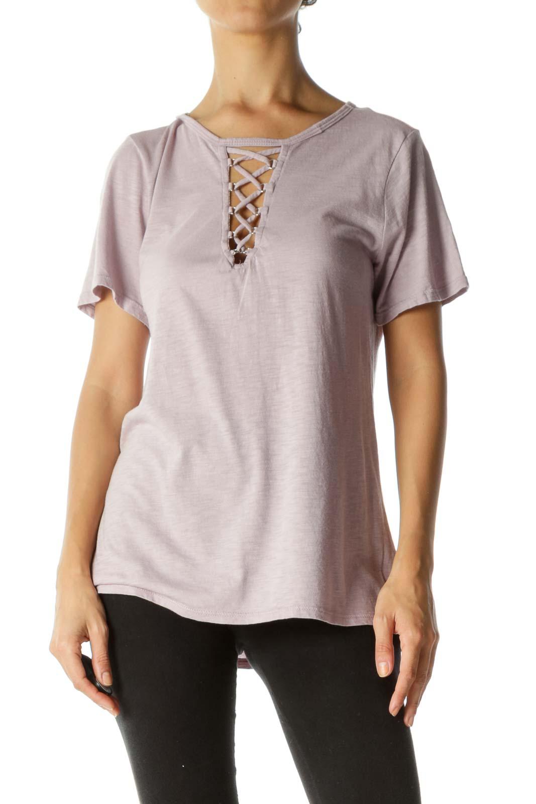 Light Purple Cotton Blend Crisscross Stretch T-Shirt Front