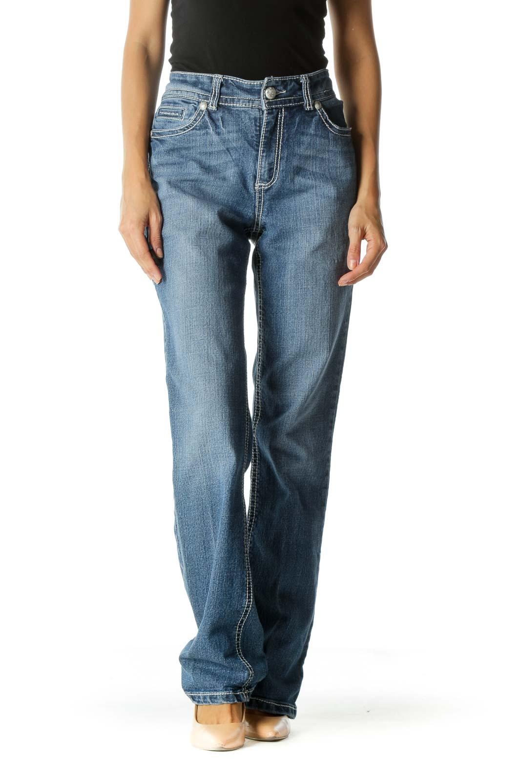 Blue Medium Wash Straight Leg Jeans Front