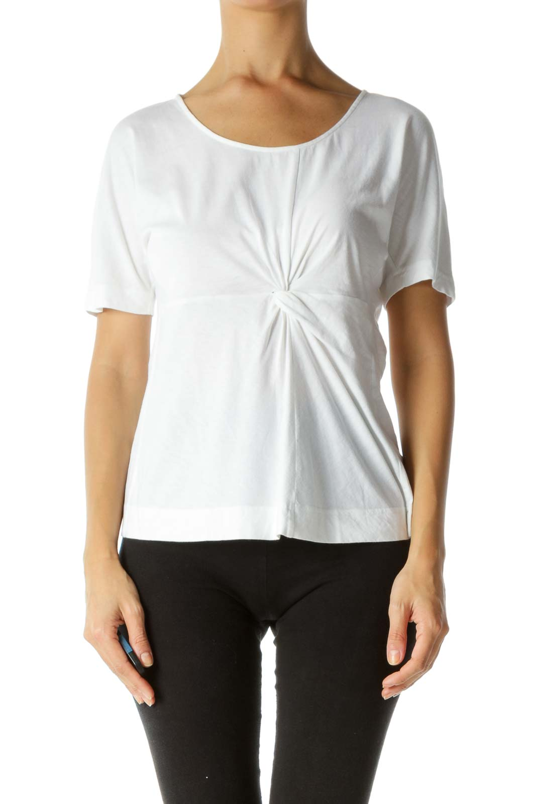 White 100% Cotton Front Knot Detail T-Shirt Front