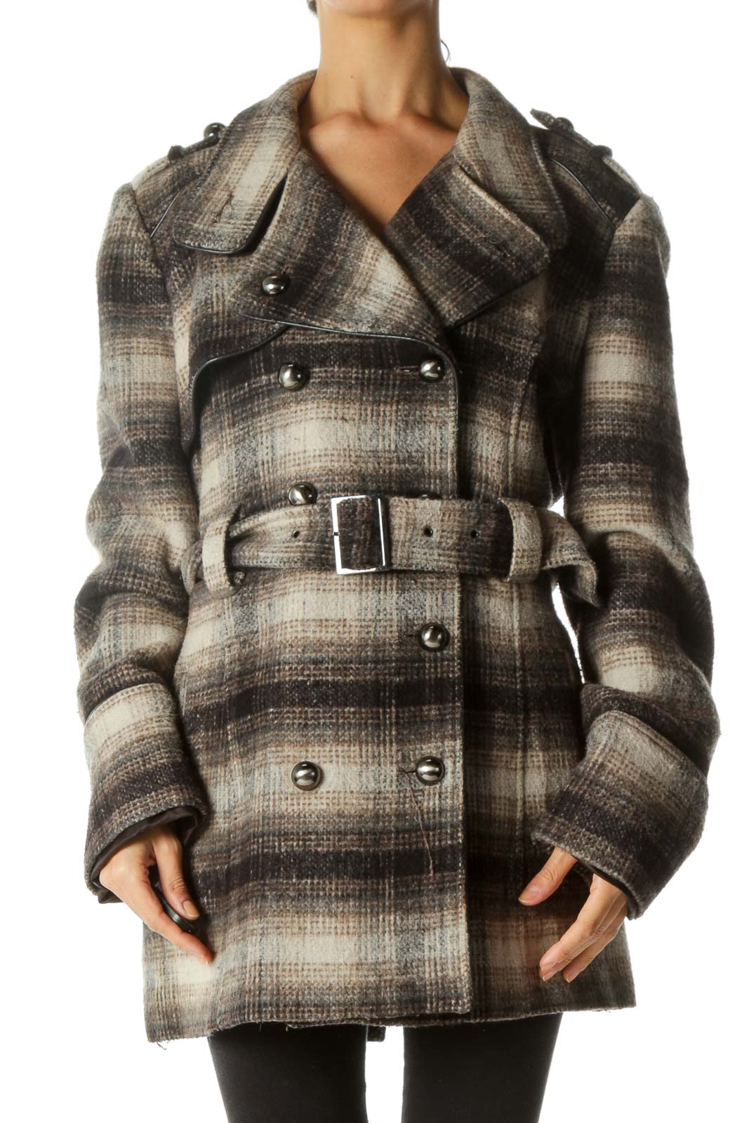 Brown Beige Black Weighted Textured Belted Coat Front