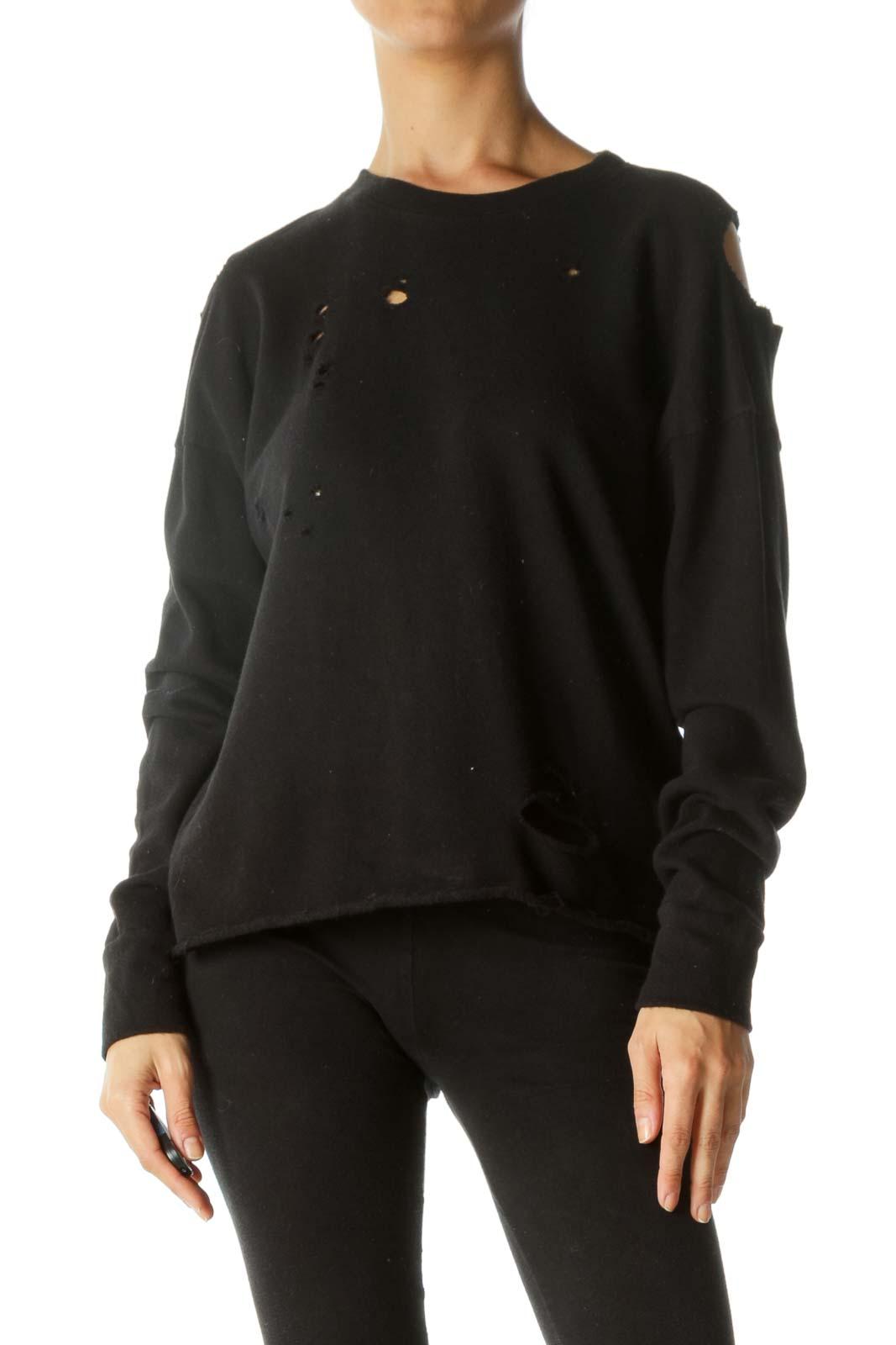 Black 100% Cotton Distressed Holes Cold-Shoulder Top Front