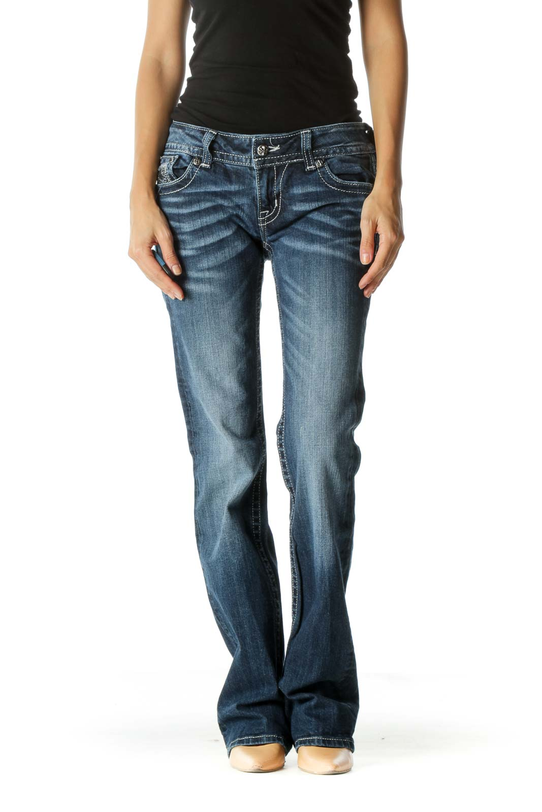 Blue Dark Wash Boot Cut Jeans  Front