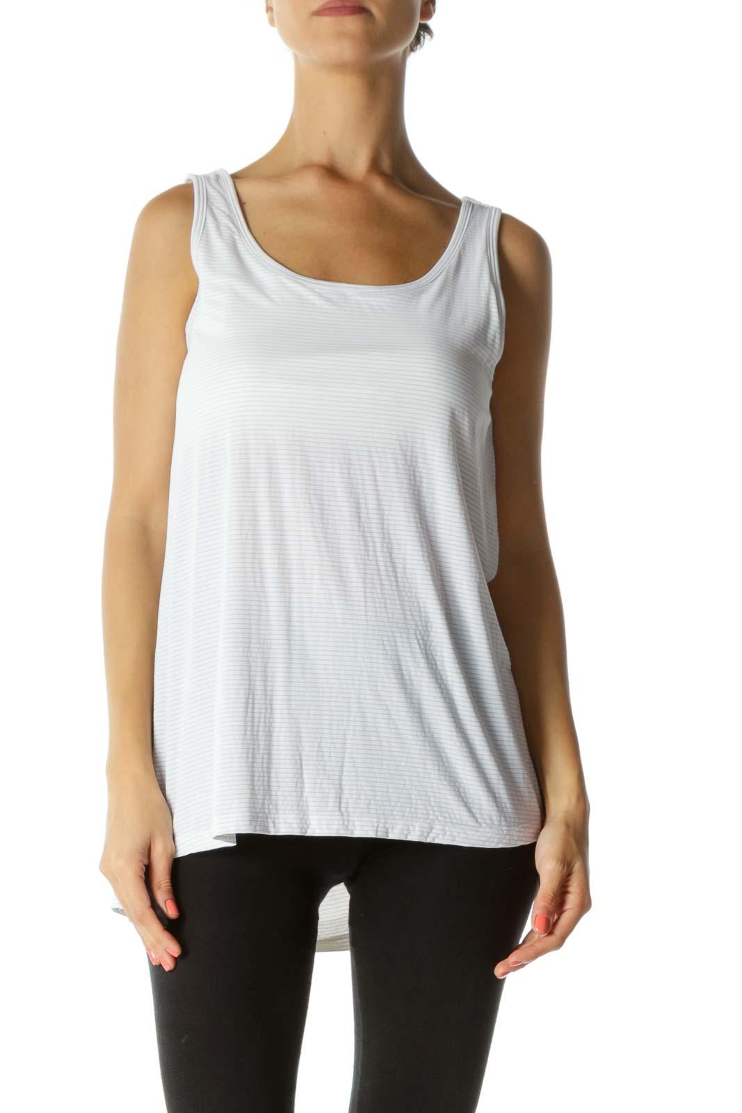 White Stripe Sporty Yoga Top Front