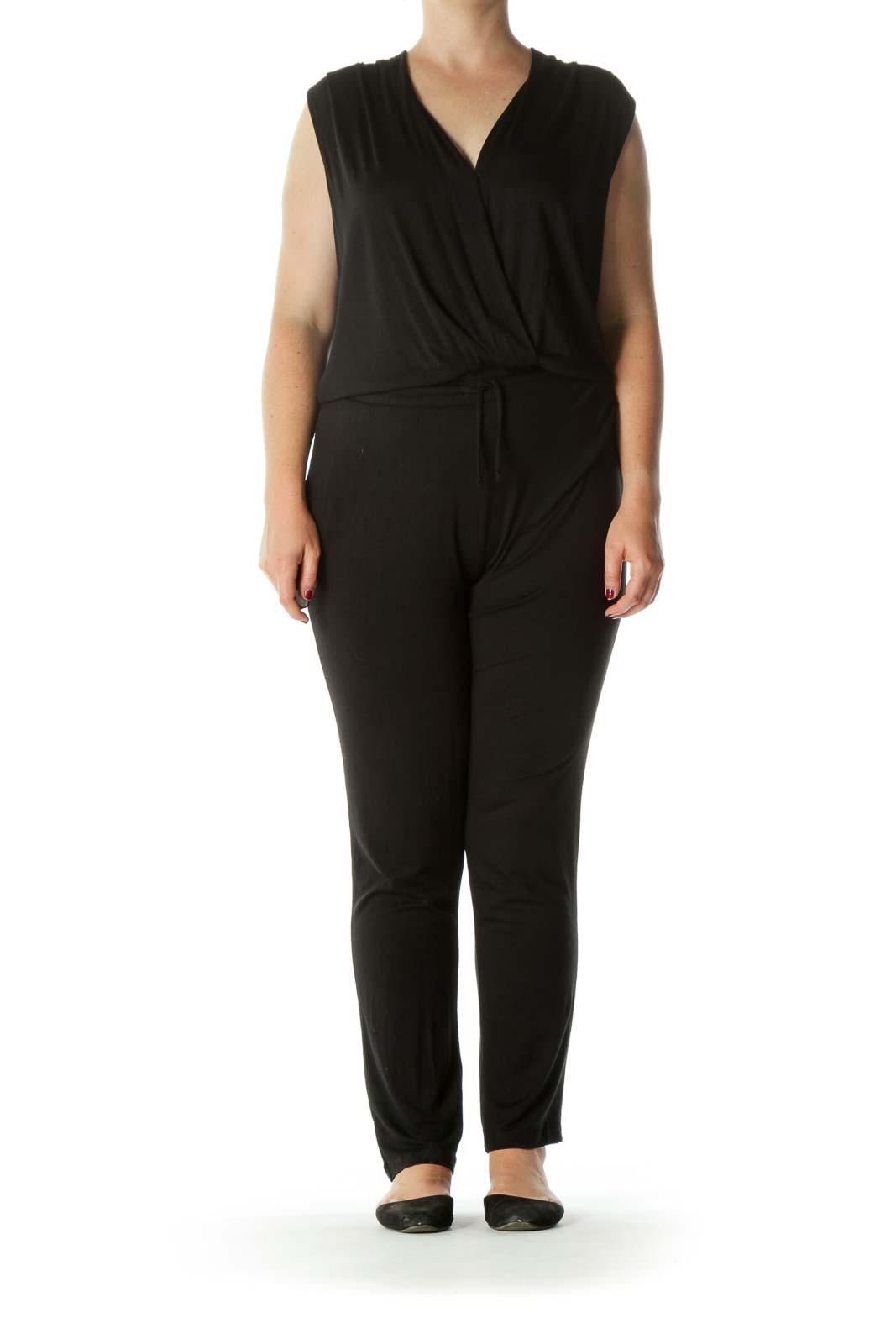 Black Super Soft-Texture Pocketed Drawstring Stretch Yoga Jumpsuit Front