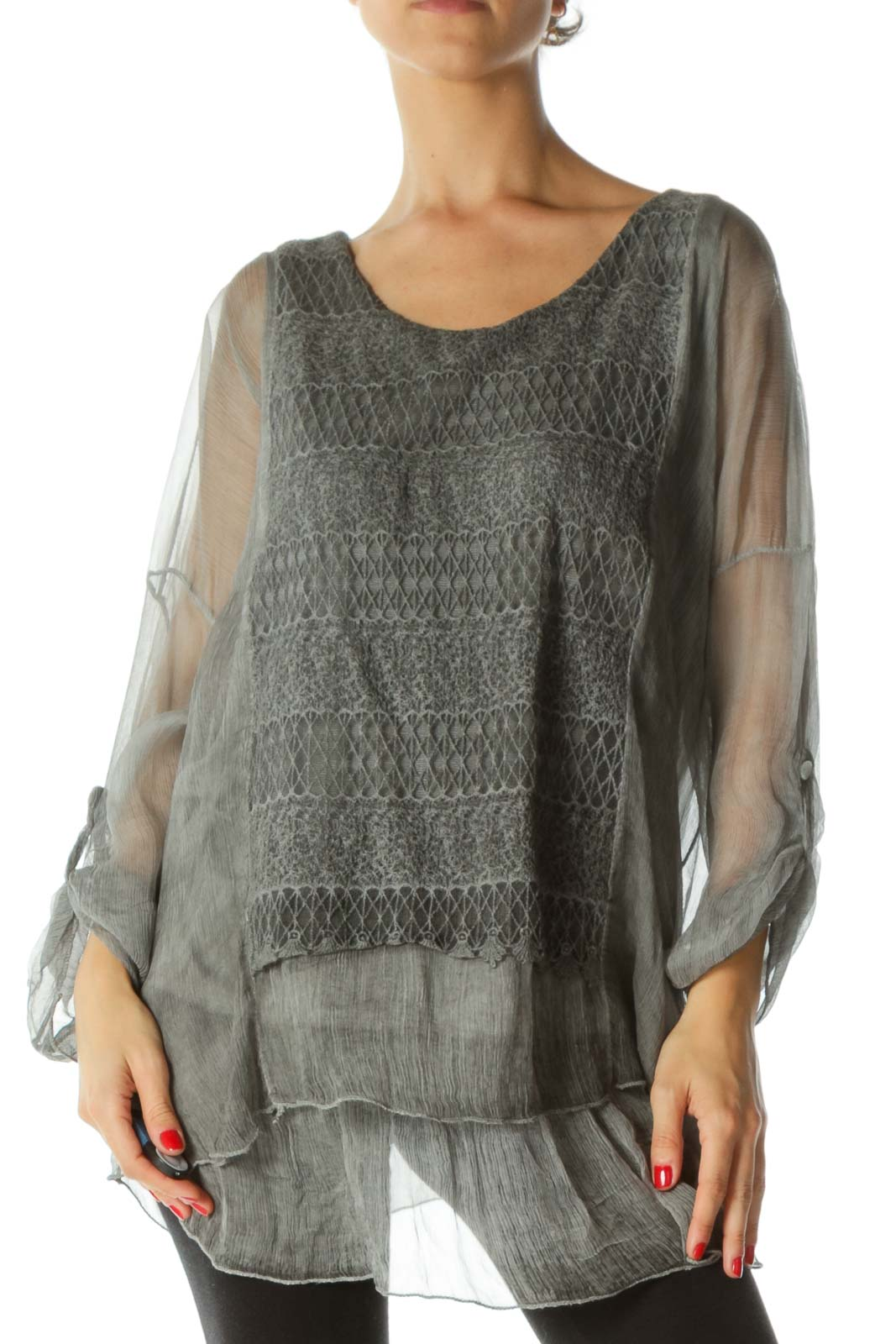 Gray Silk Crocheted Long Sleeves Blouse  Front