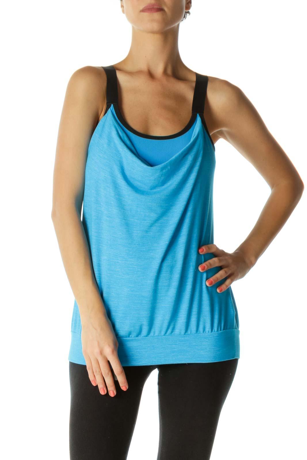Blue Black Mottled Print Elastic Thick-Straps Crisscross Back Yoga Top Front