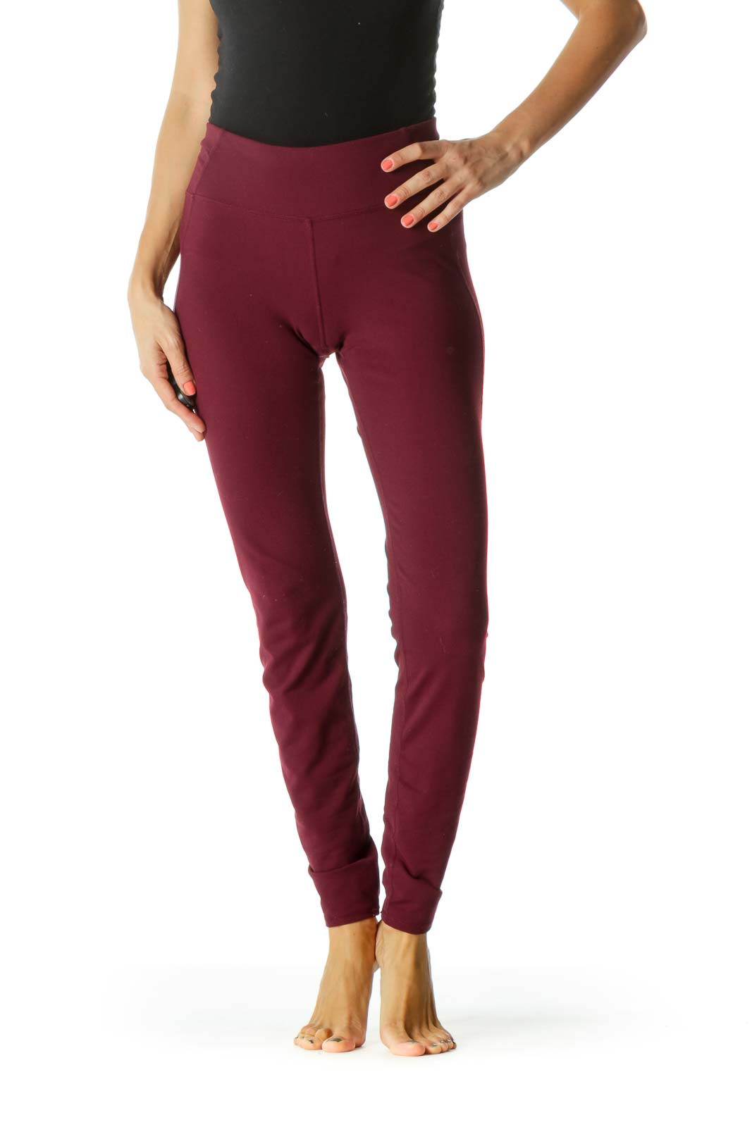 Burgundy Sports Pants with Inside Small Hip Pocket Front