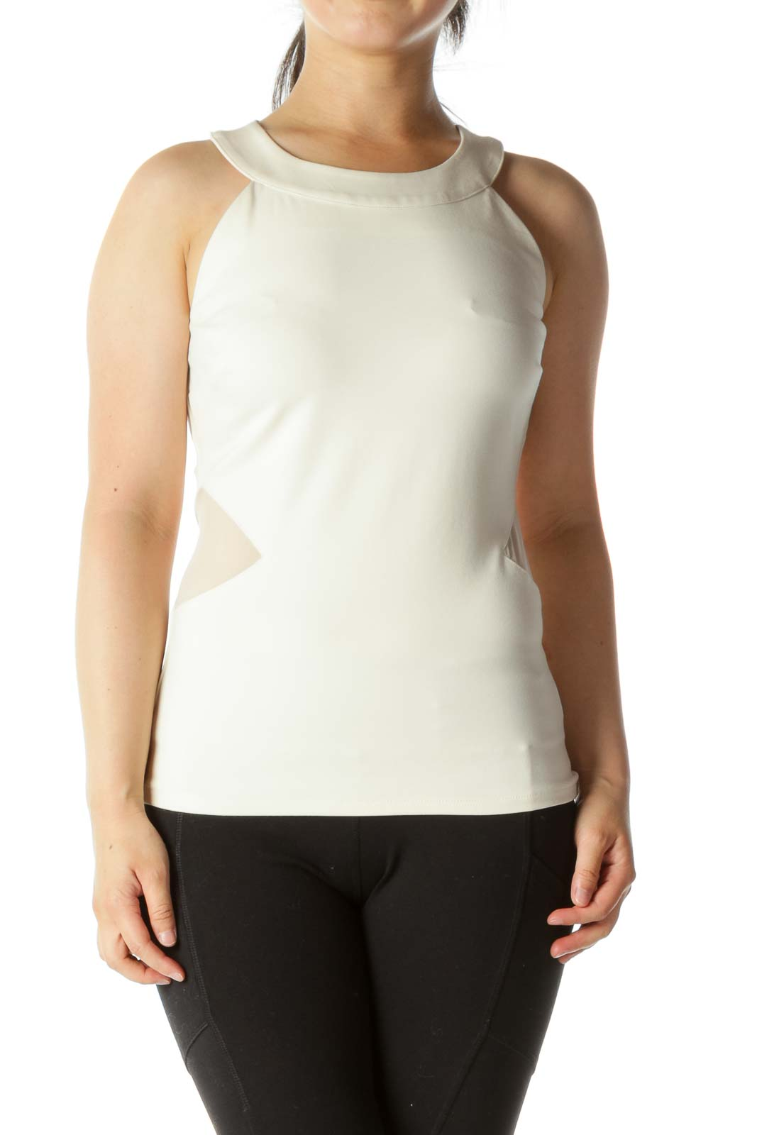 Cream Tunic Mesh Cut Out Front