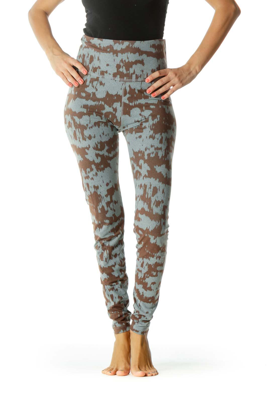 Gray Brown Print Stretch Yoga Pants Front