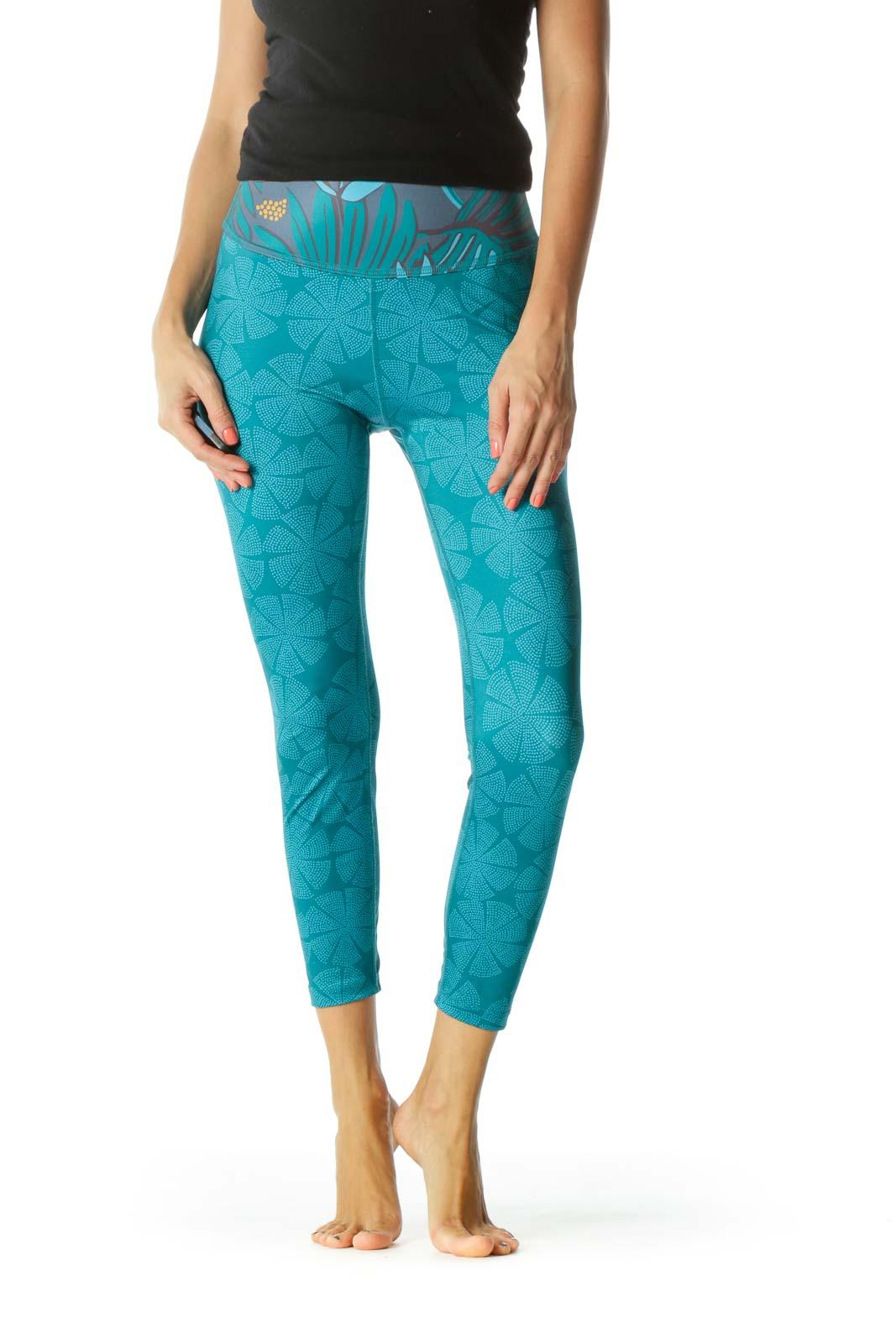 Blue Gray Orange Print Active High-Rise Yoga Pants Front