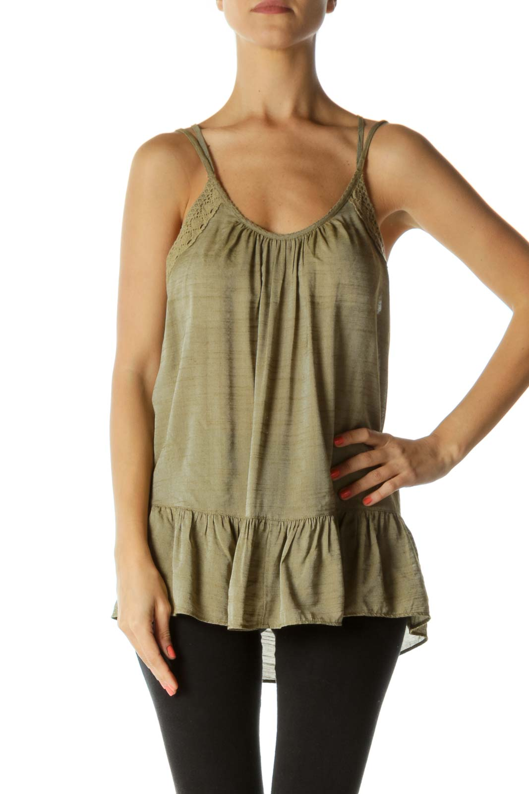 Green Strappy Back Tank Front