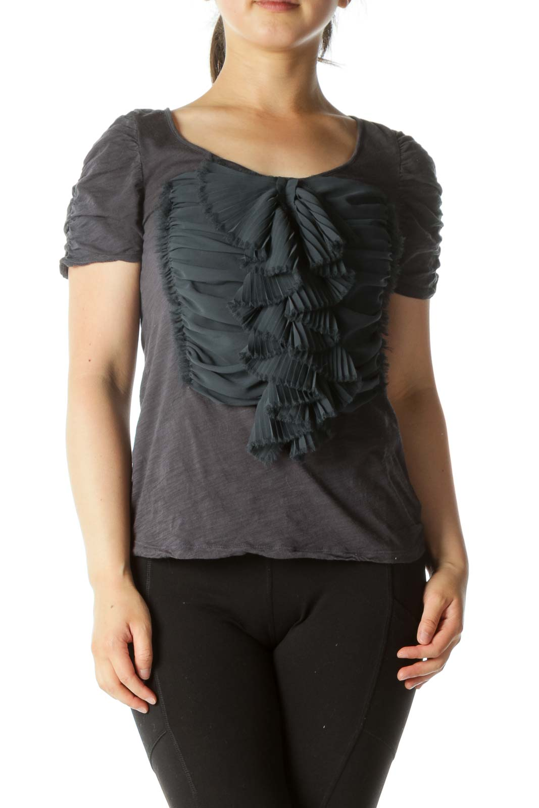 Gray Ruffled Blouse Front