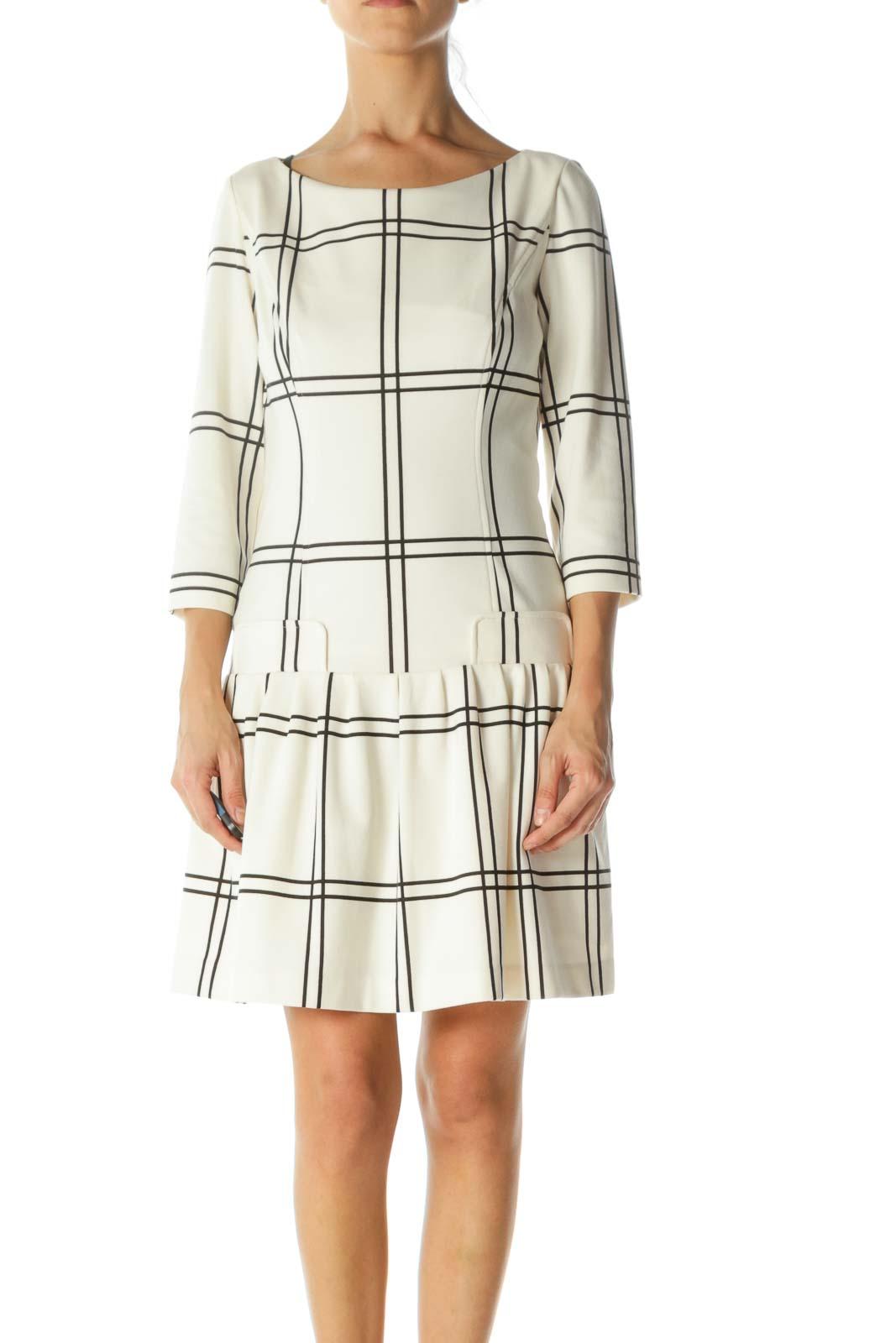 Black Cream Plaid Pleated-Skirt Long Sleeve Stretch Dress Front