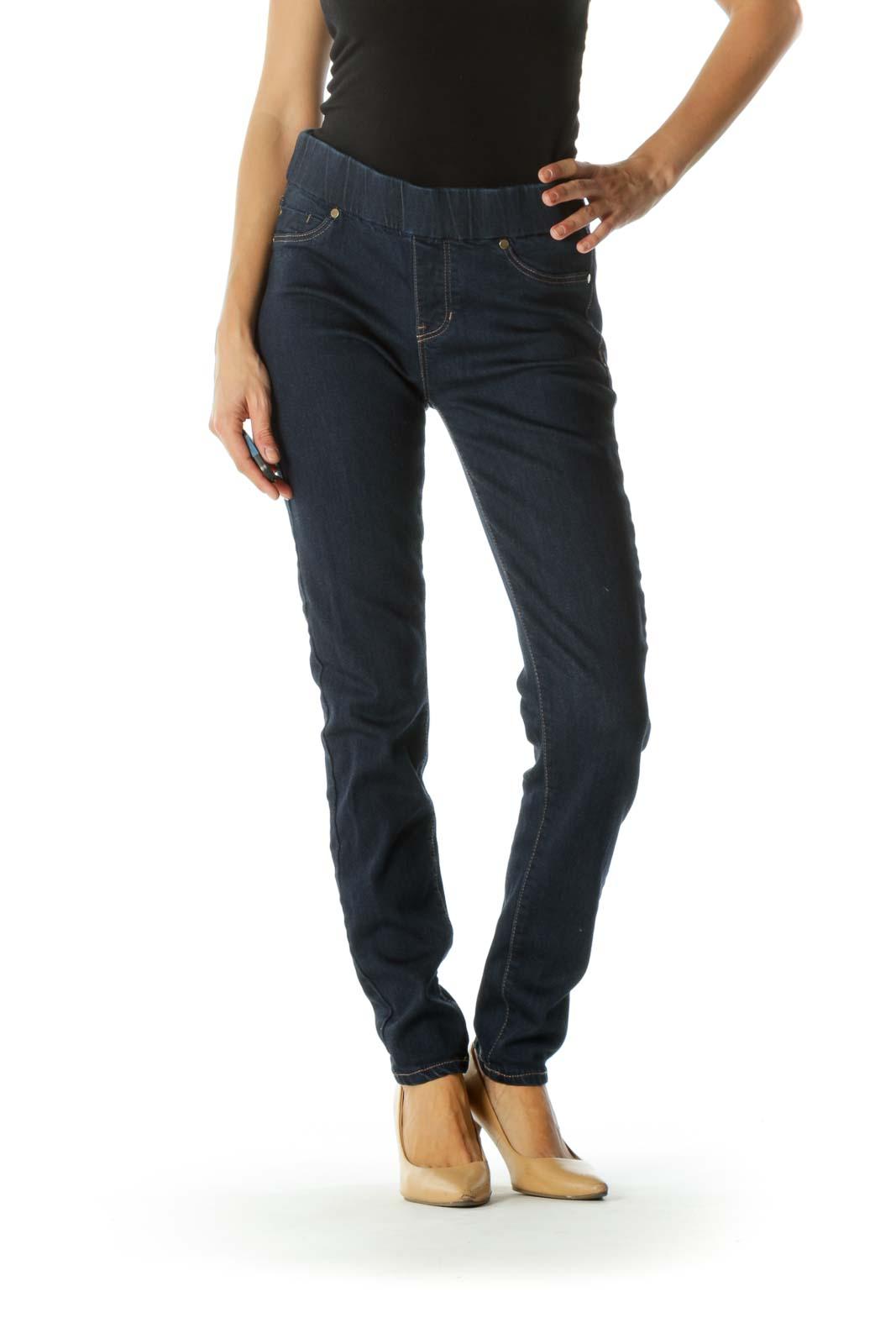 Blue Dark-Wash Elastic Waist-Band Faux-Front-Pockets Denim Legging Front