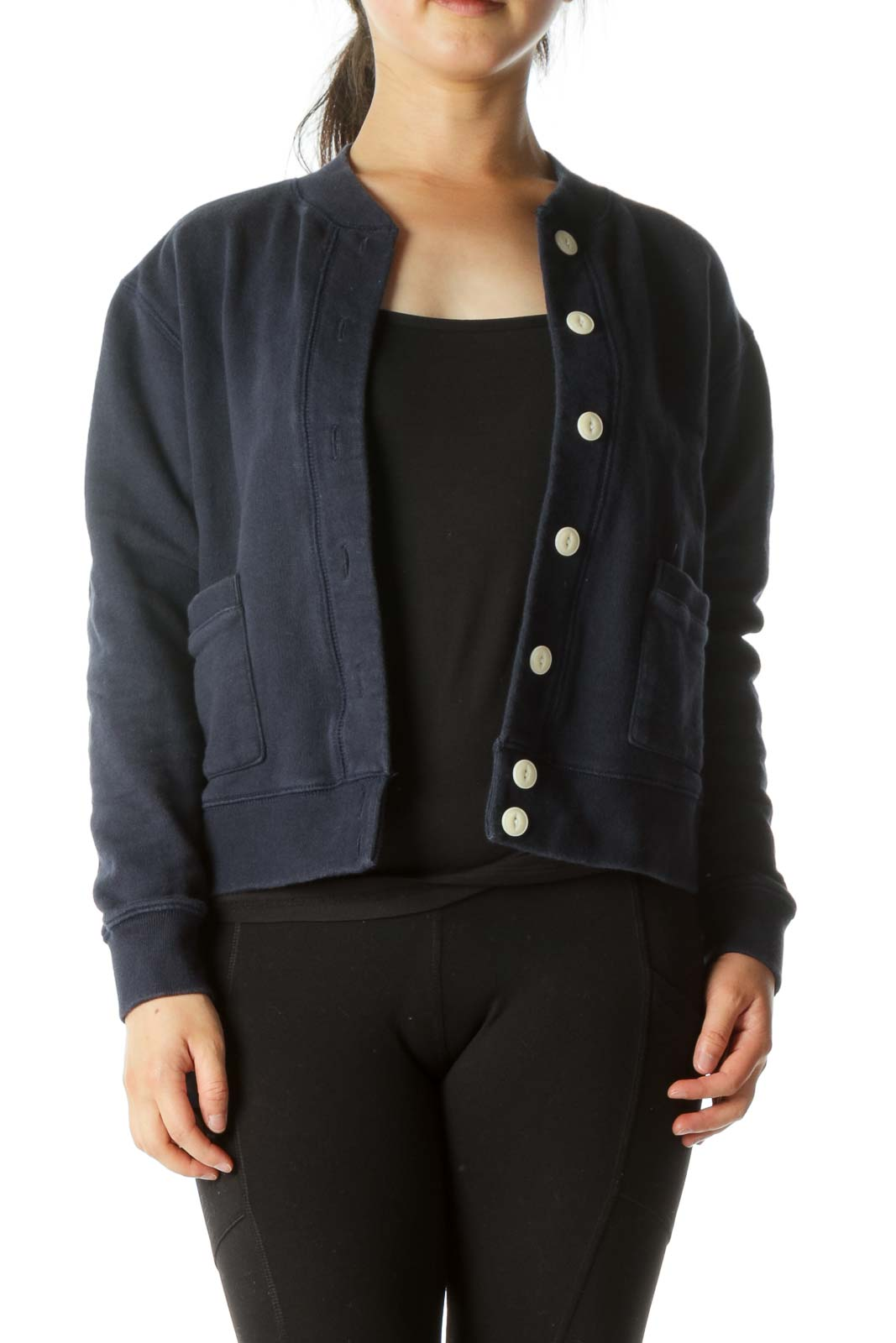 Navy Cotton Button Down Casual Jacket  Front