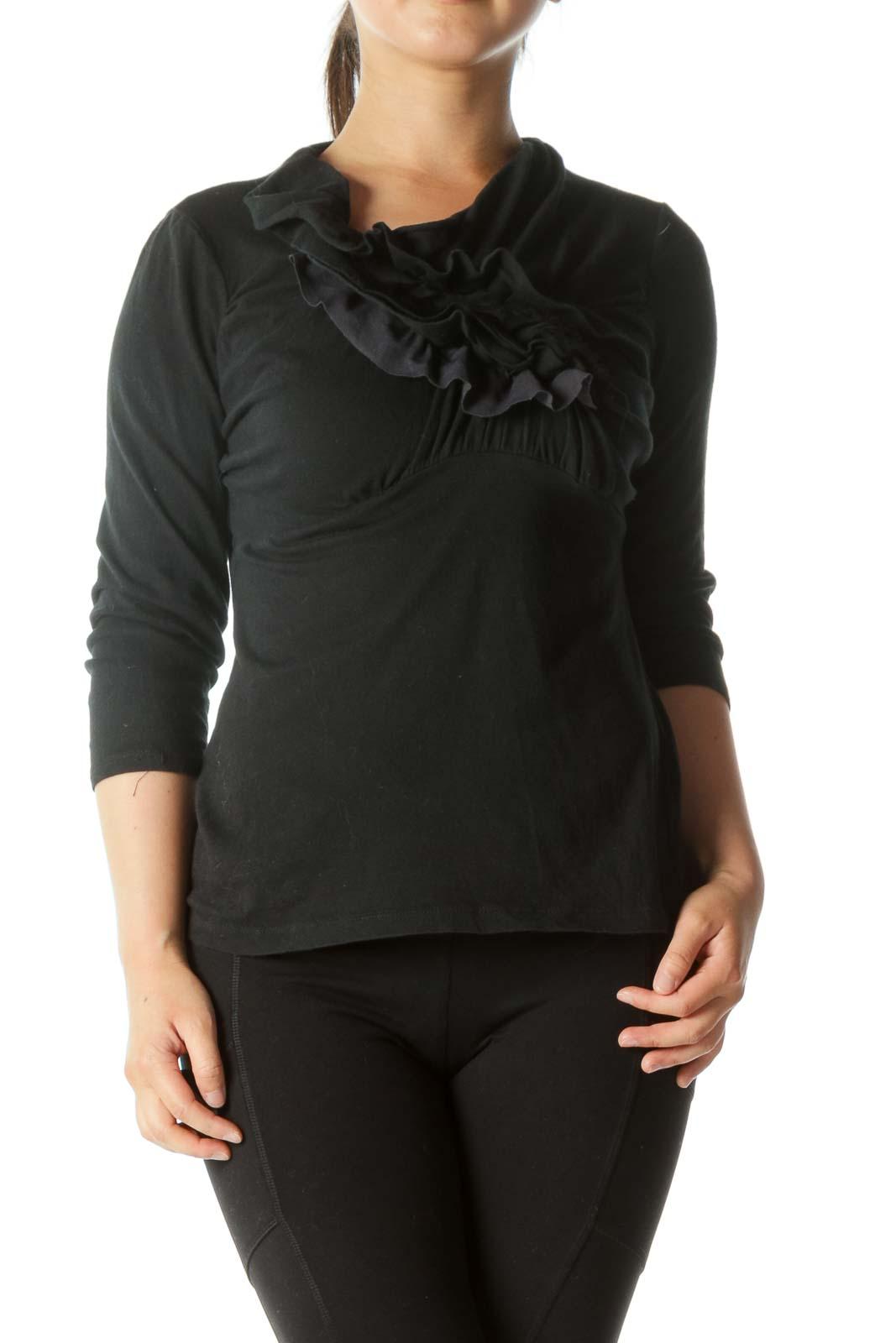 Black Ruffled Shirt Front