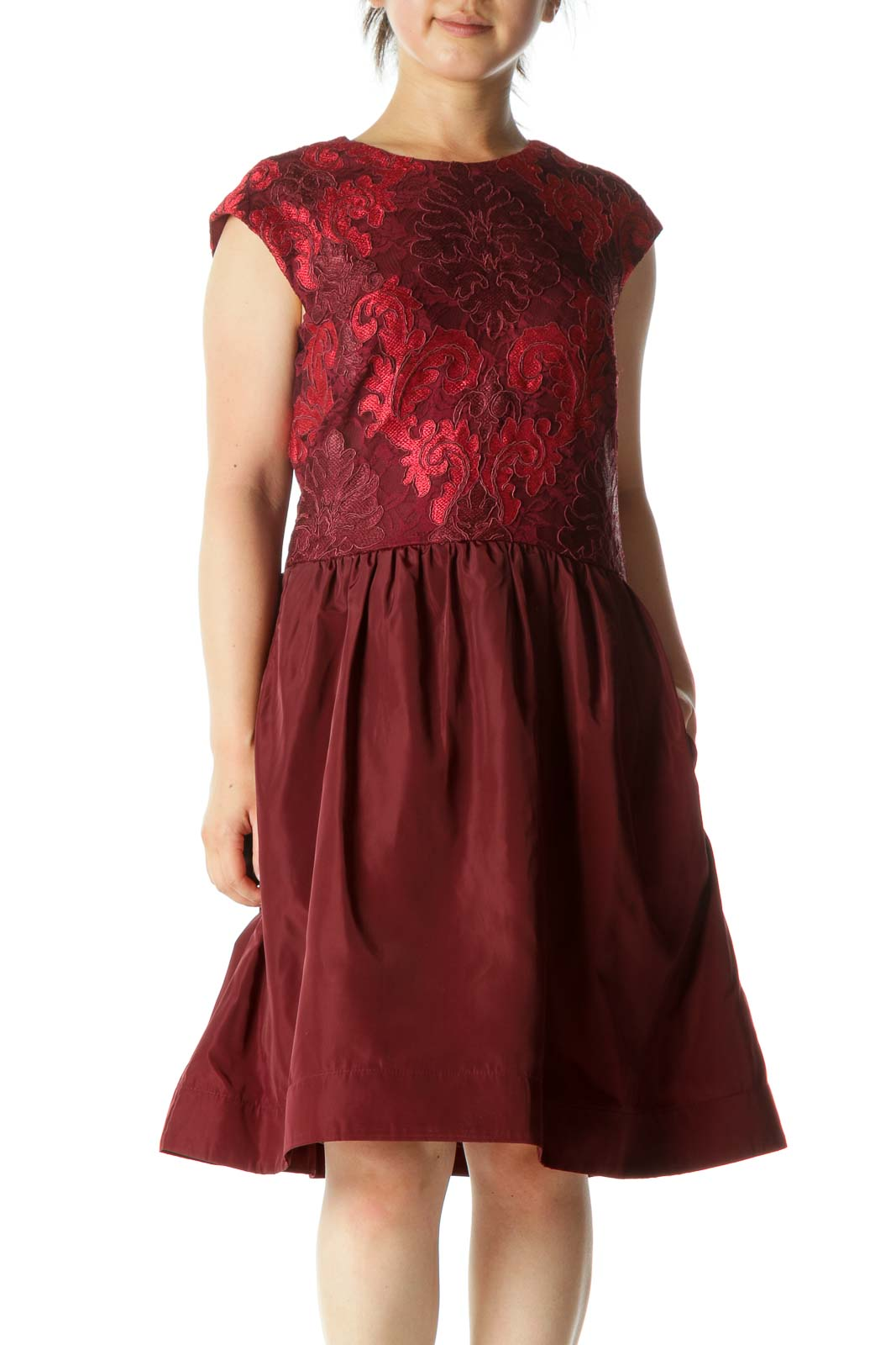 Burgundy Red Lace Knit Cinched Waist Structured Skirt-Rim Cocktail Dress Front