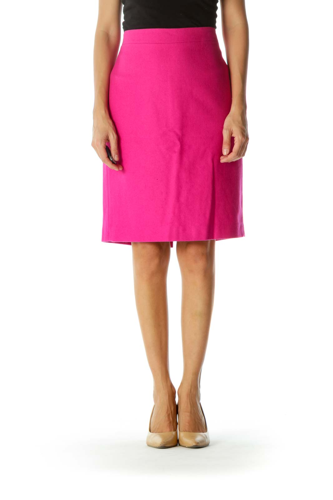 Hot Pink Wool Blend Textured Knit Skirt Front