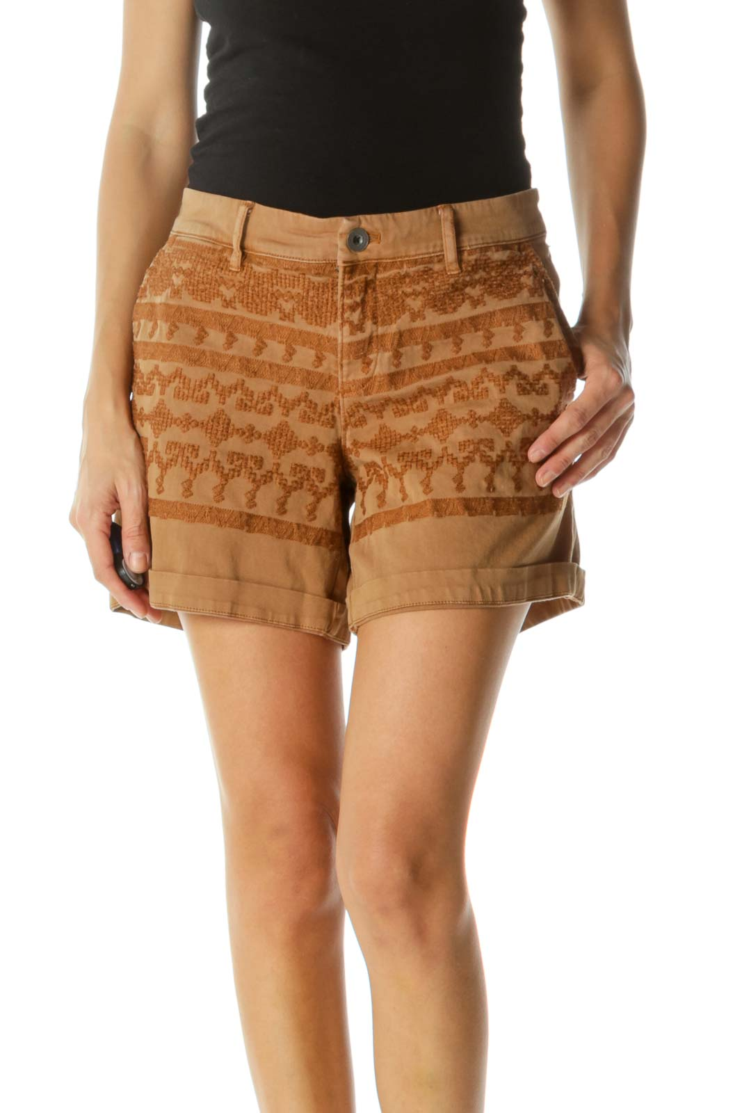 Tan Beige Cotton Soft Embroidered Pattern Stretch Pocketed Shorts Front