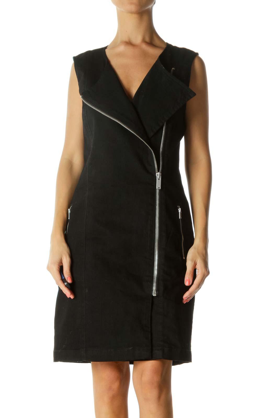 Black Side Zipper Work Dress Front
