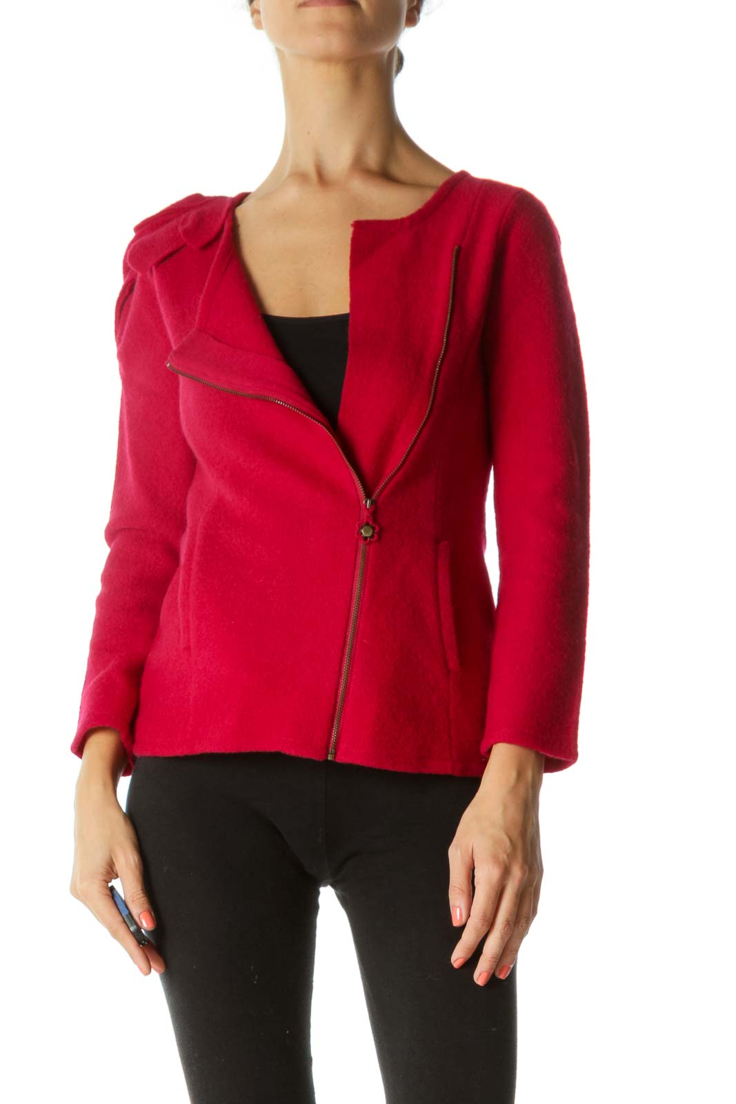 Red Side Zip Jacket with Flower Shoulder Front