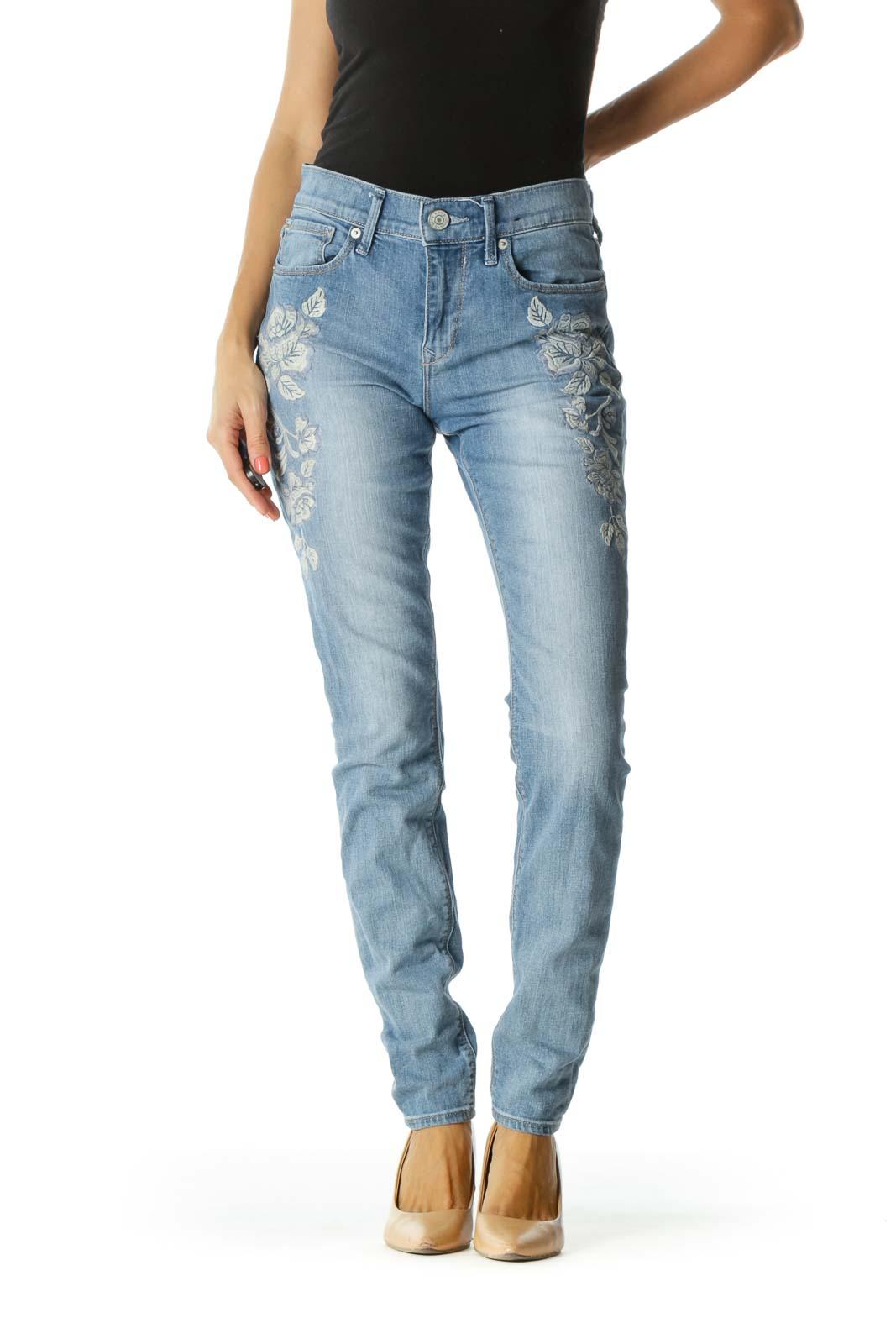 Blue Light-Wash Floral Embroidered Jeans Front