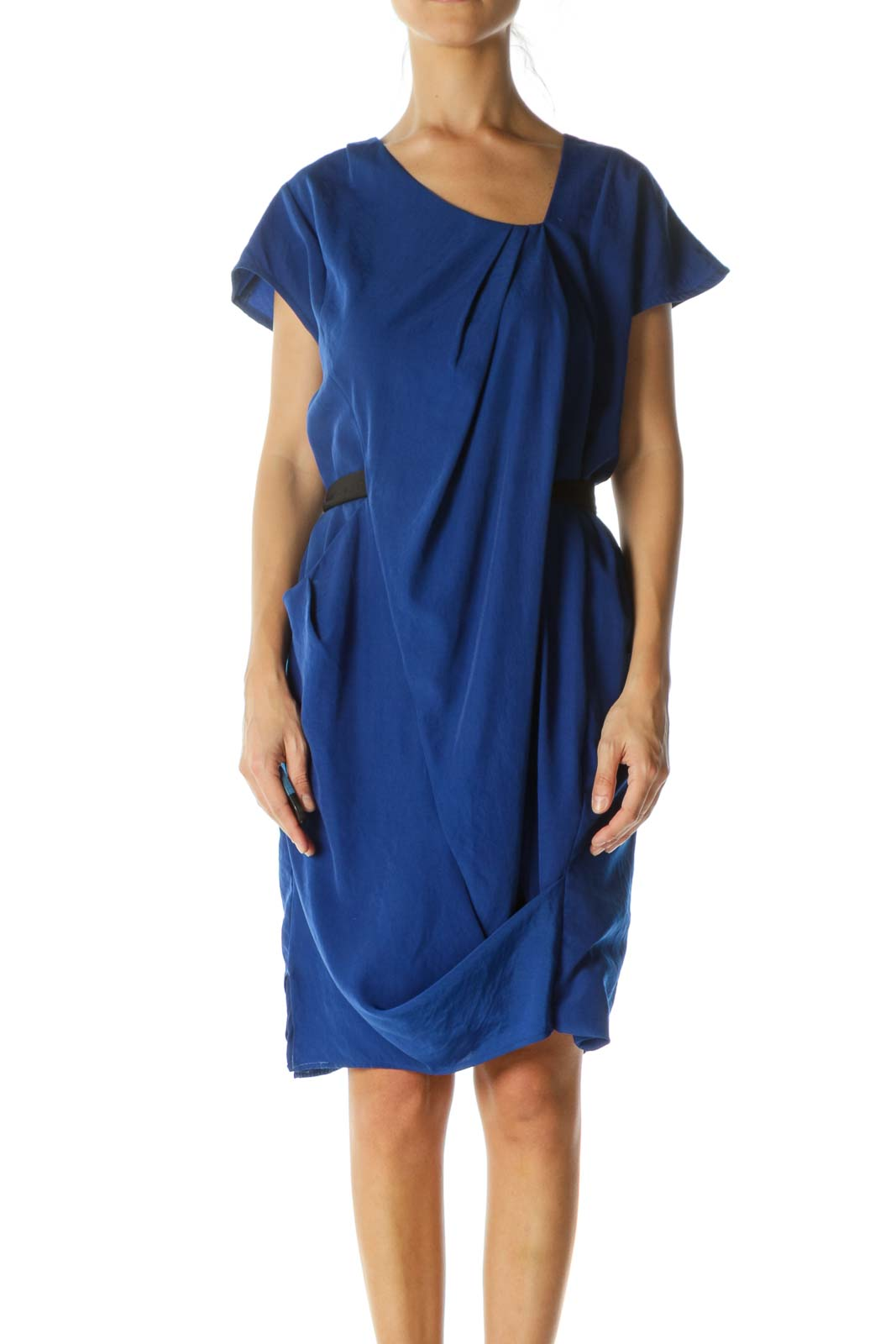 Blue Asymmetric Waist Tie Day Dress Front