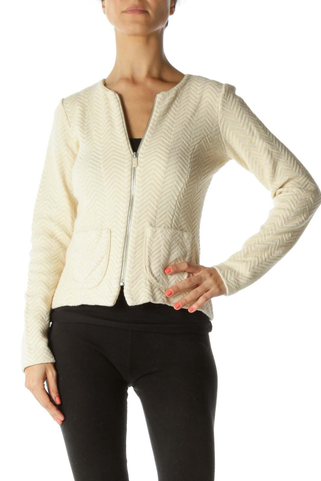 Cream Zig-zag Pattern Tweed Jacket Front