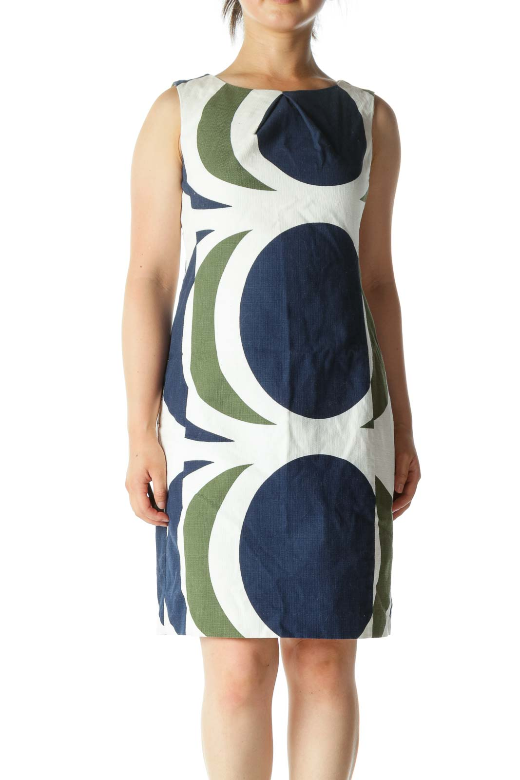 White Blue Green Cotton Blend Knit Textured Print Dress Front