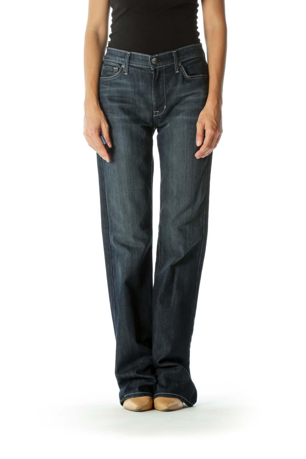 Blue Dark-Wash High-Rise Bootcut Stretch Denim Jeans Front