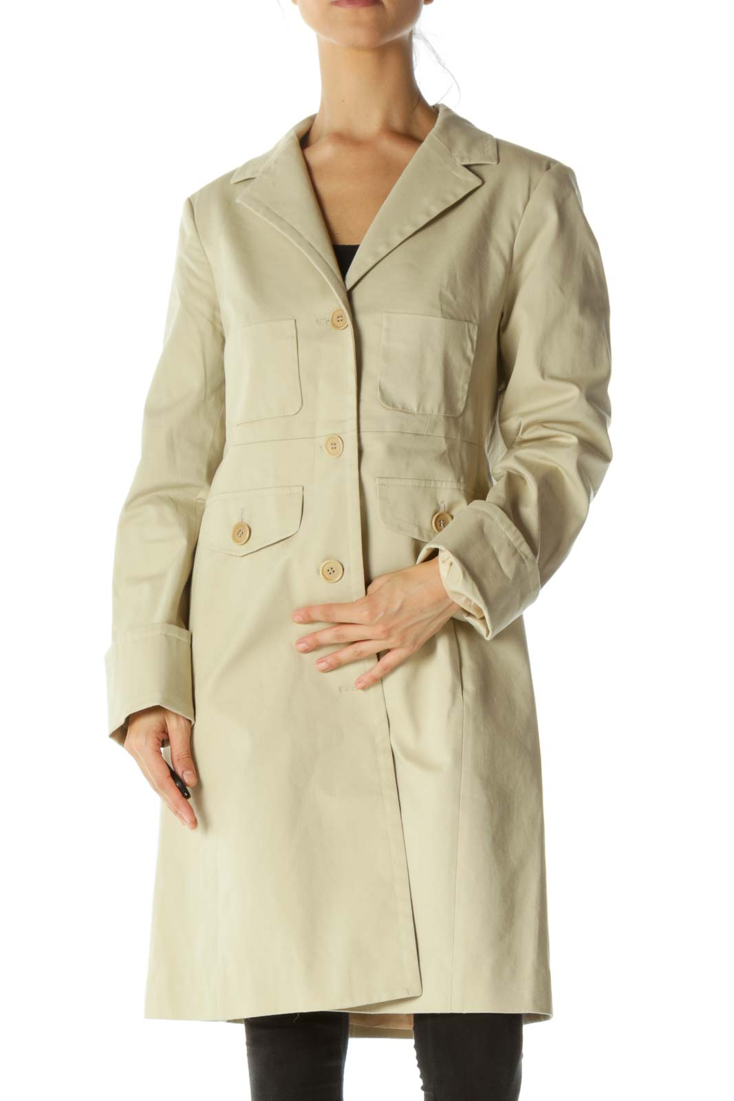 Beige Button Down Pocketed Trench Coat Front